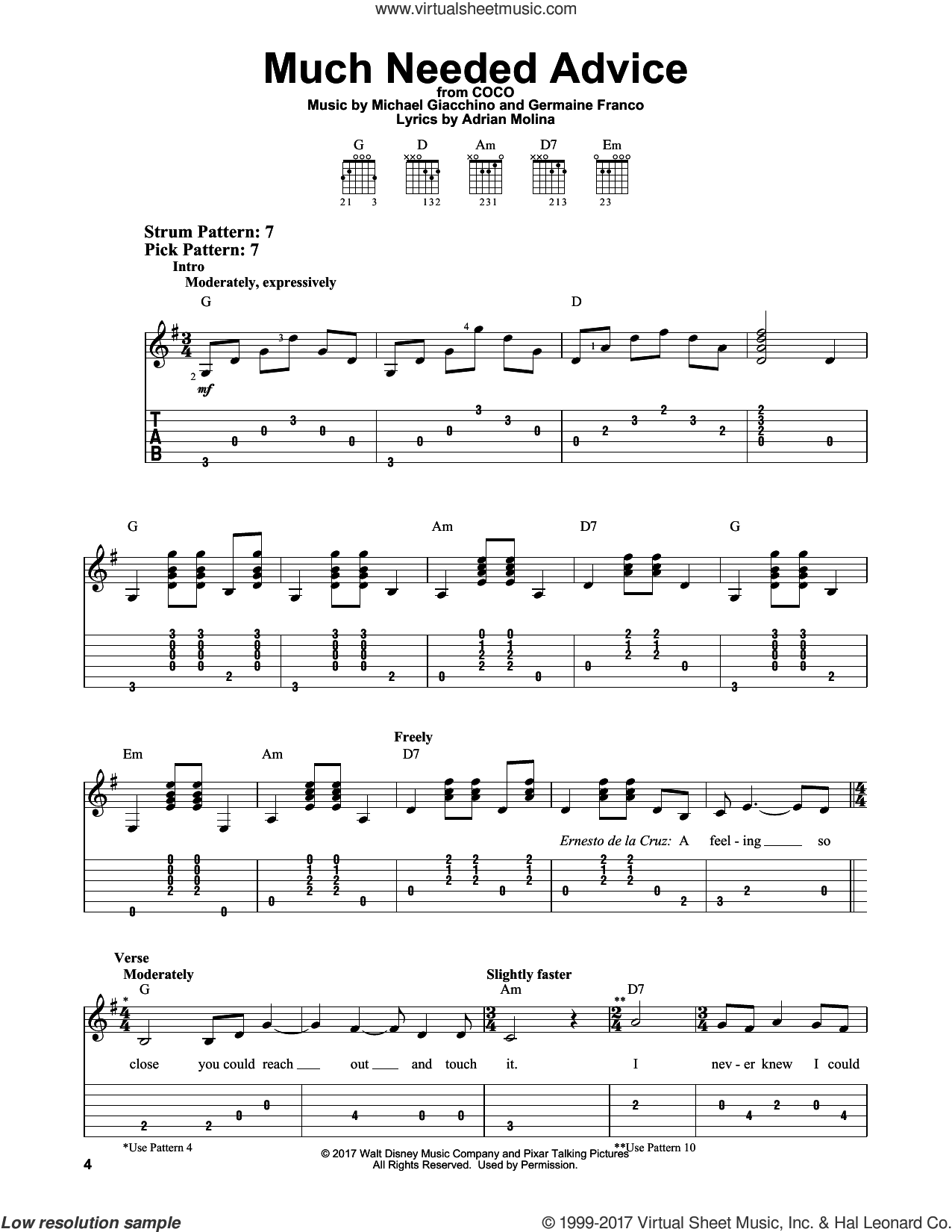 Much Needed Advice sheet music for guitar solo (easy tablature) by Michael Giacchino, Coco (Movie), Adrian Molina and Germaine Franco, easy guitar (easy tablature)