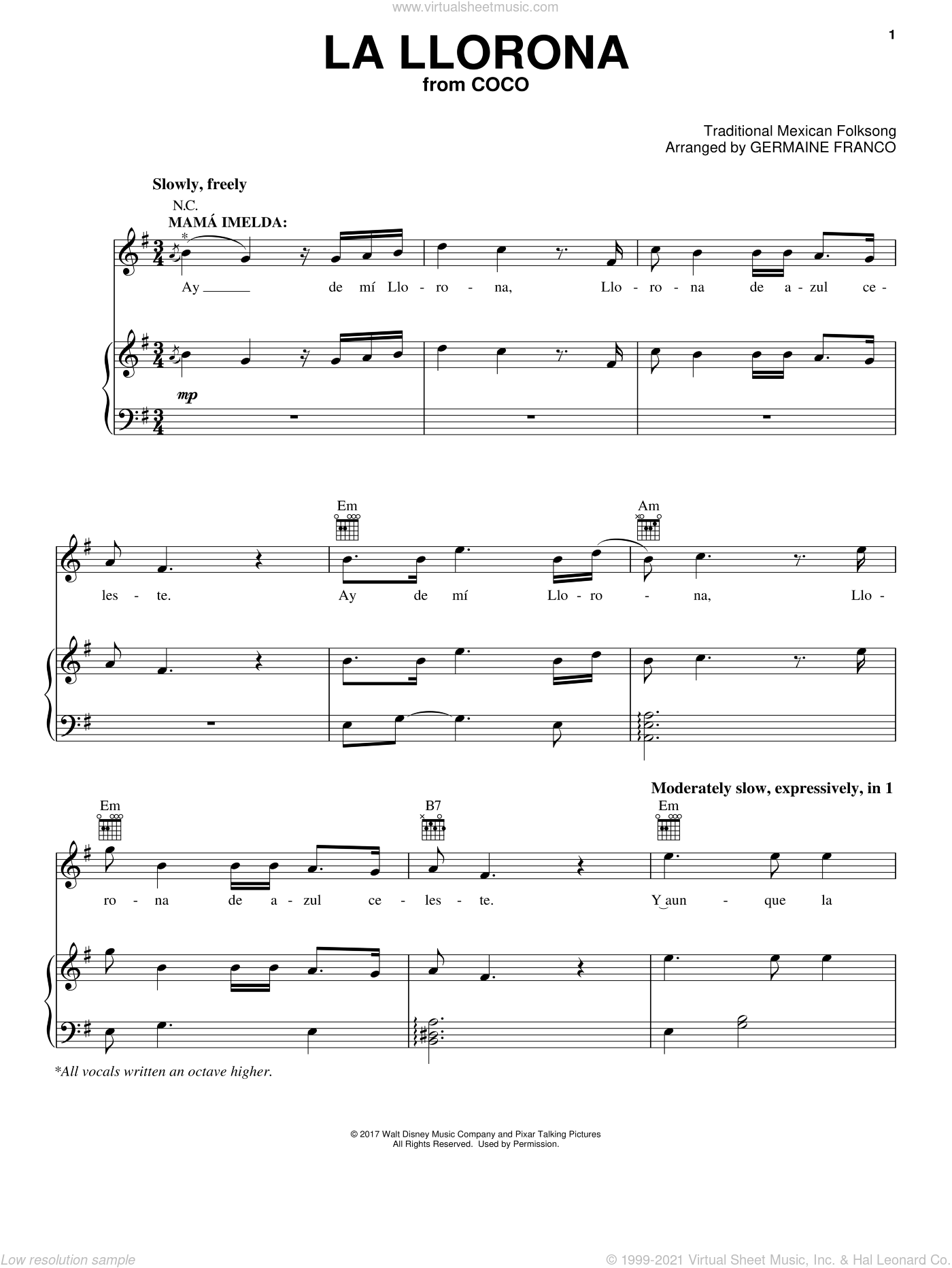 La Llorona sheet music for voice, piano or guitar by Germaine Franco, Coco (Movie) and Traditional Mexican Folksong, intermediate skill level