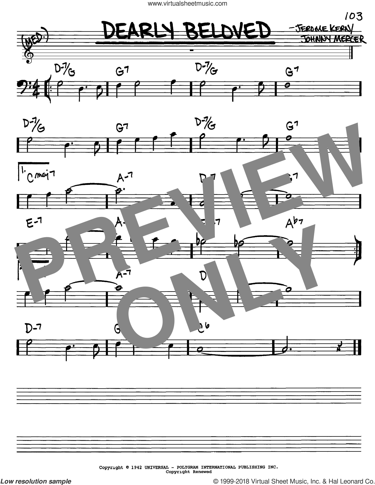 Dearly Beloved sheet music for voice and other instruments (bass clef) by Jerome Kern and Johnny Mercer, intermediate skill level