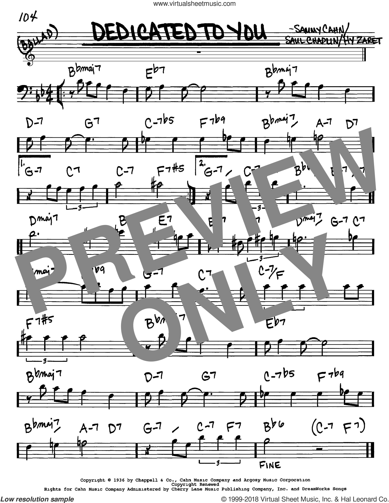 Dedicated To You sheet music for voice and other instruments (bass clef) by Sammy Cahn, Hy Zaret and Saul Chaplin, intermediate skill level