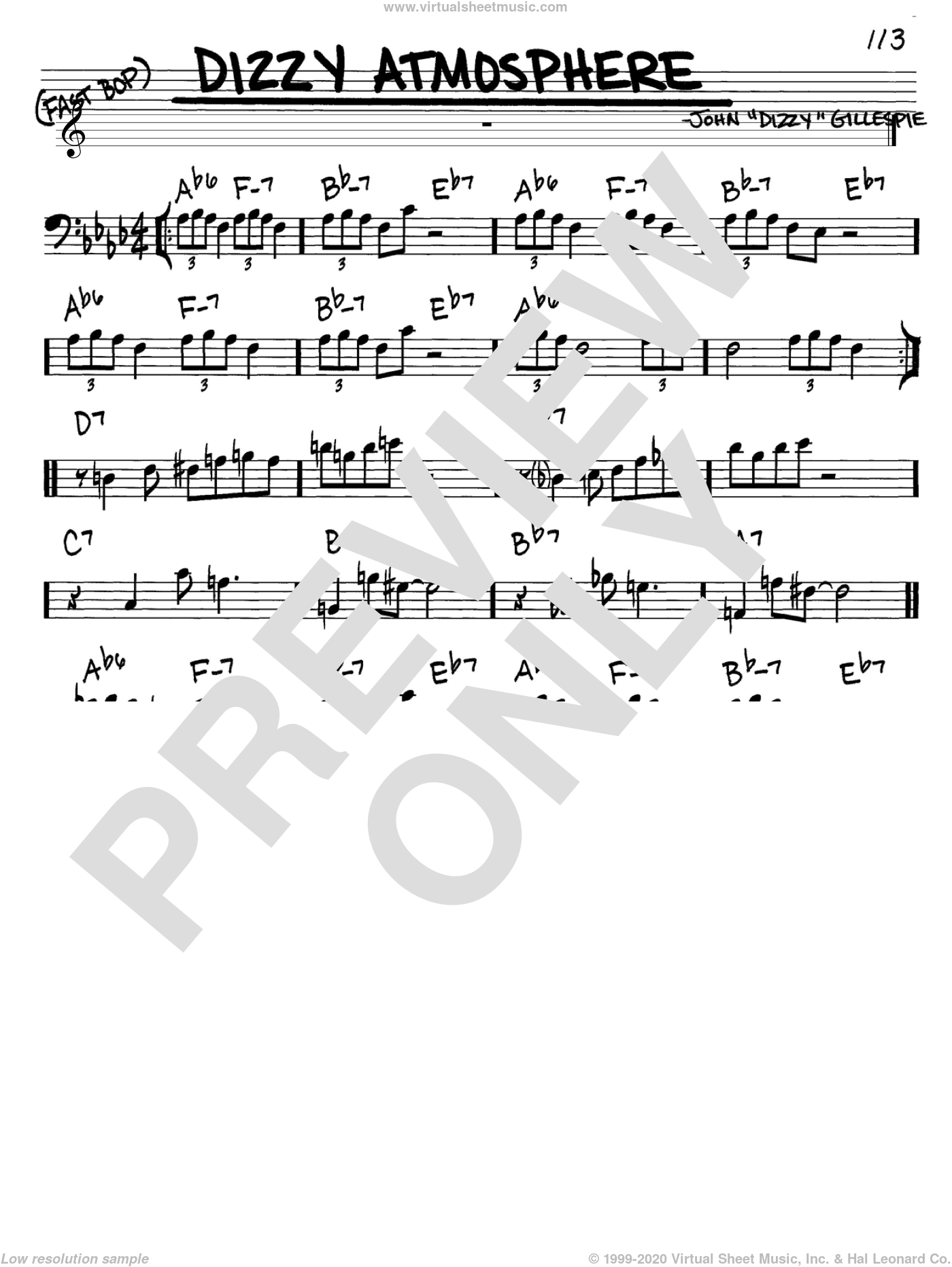Dizzy Atmosphere sheet music for voice and other instruments (Bass Clef ) by Dizzy Gillespie and Charlie Parker, intermediate voice. Score Image Preview.