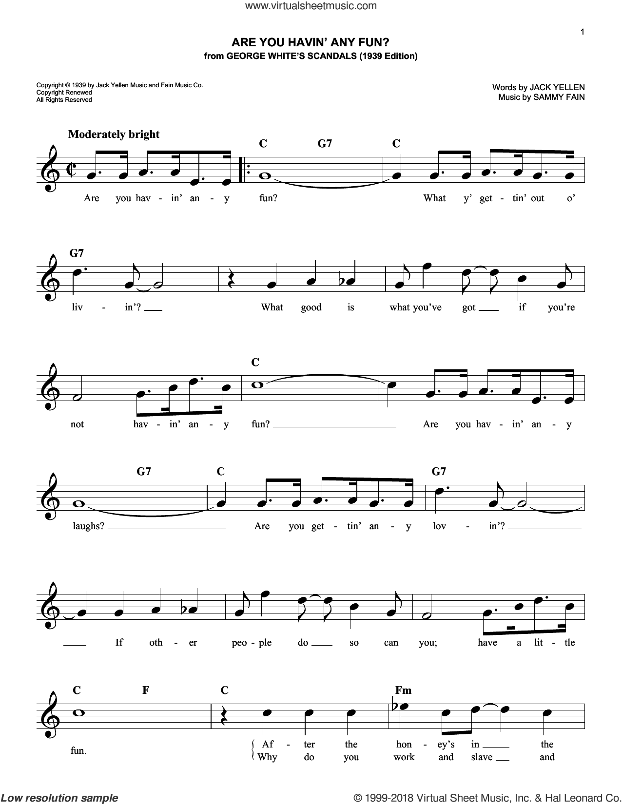 Are You Havin' Any Fun? sheet music for voice and other instruments (fake book) by Sammy Fain and Jack Yellen, intermediate skill level