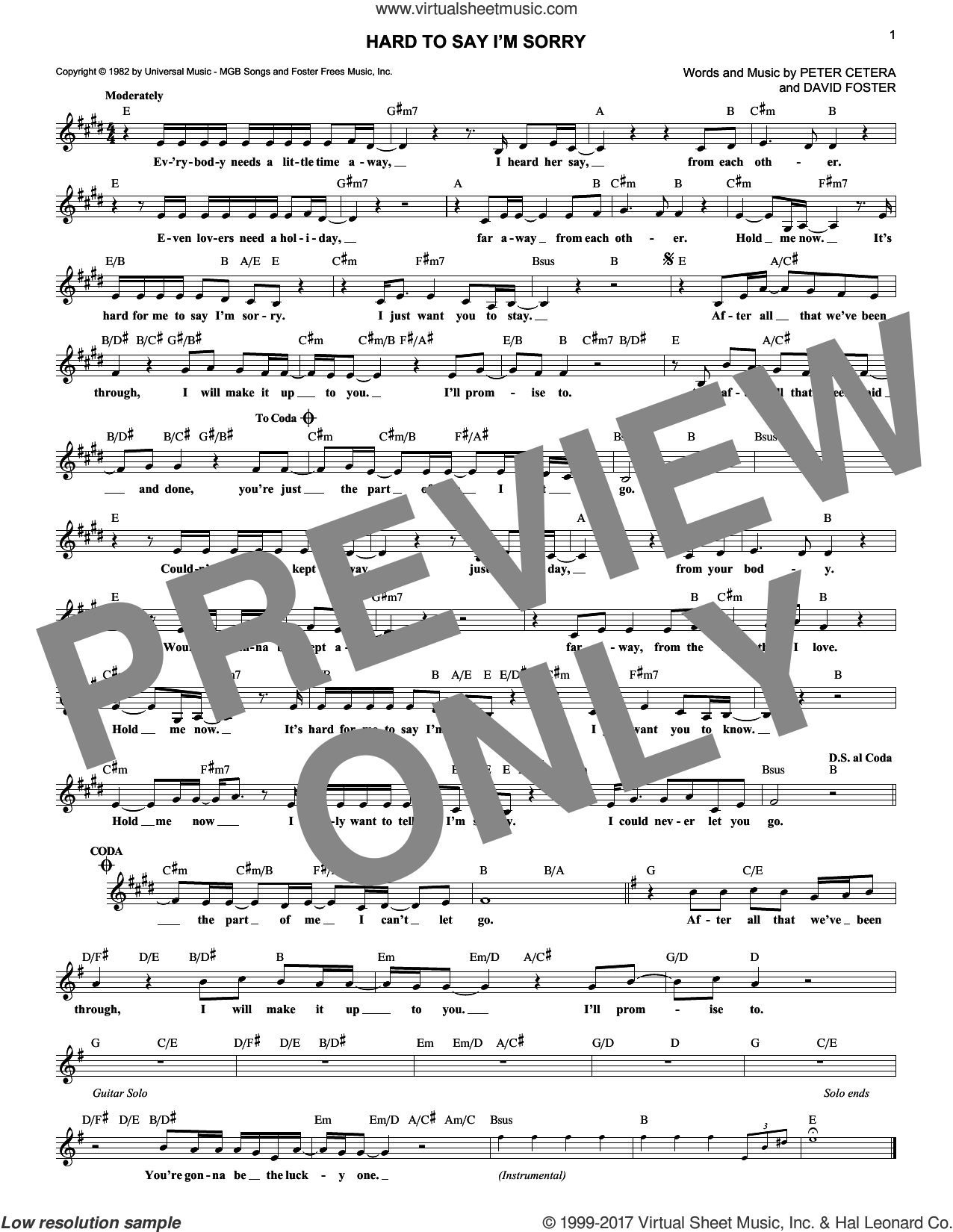 Hard To Say I'm Sorry sheet music for voice and other instruments (fake book) by Chicago, David Foster and Peter Cetera, intermediate skill level