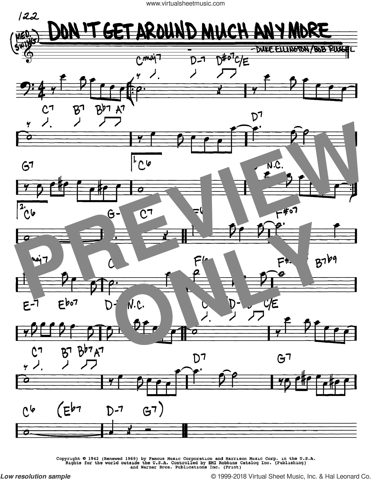 Don't Get Around Much Anymore sheet music for voice and other instruments (Bass Clef ) by Duke Ellington and Bob Russell, intermediate. Score Image Preview.