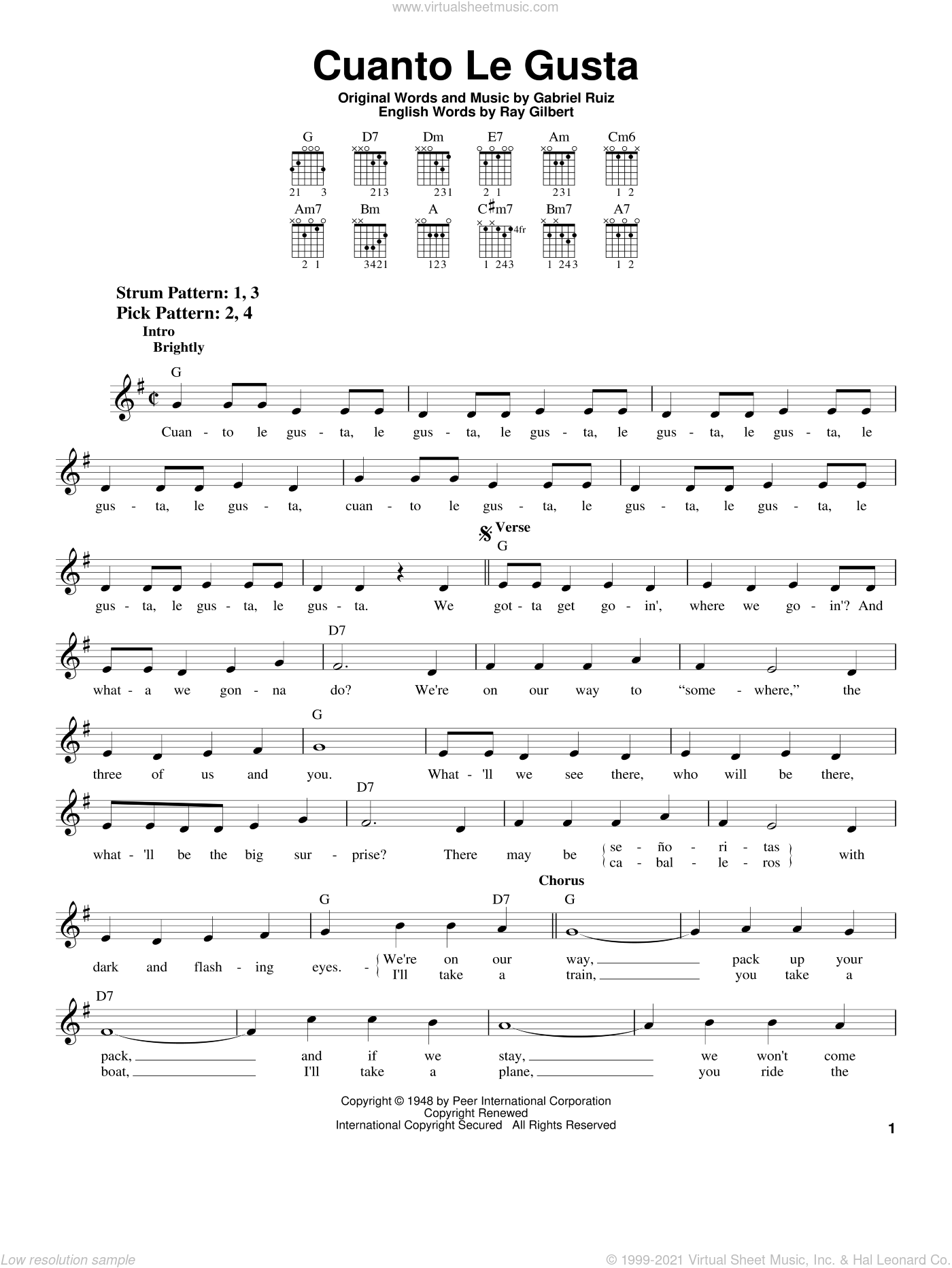 Cuanto Le Gusta sheet music for guitar solo (chords) by The Andrews Sisters, Carmen Miranda, Gabriel Ruiz and Ray Gilbert, easy guitar (chords). Score Image Preview.