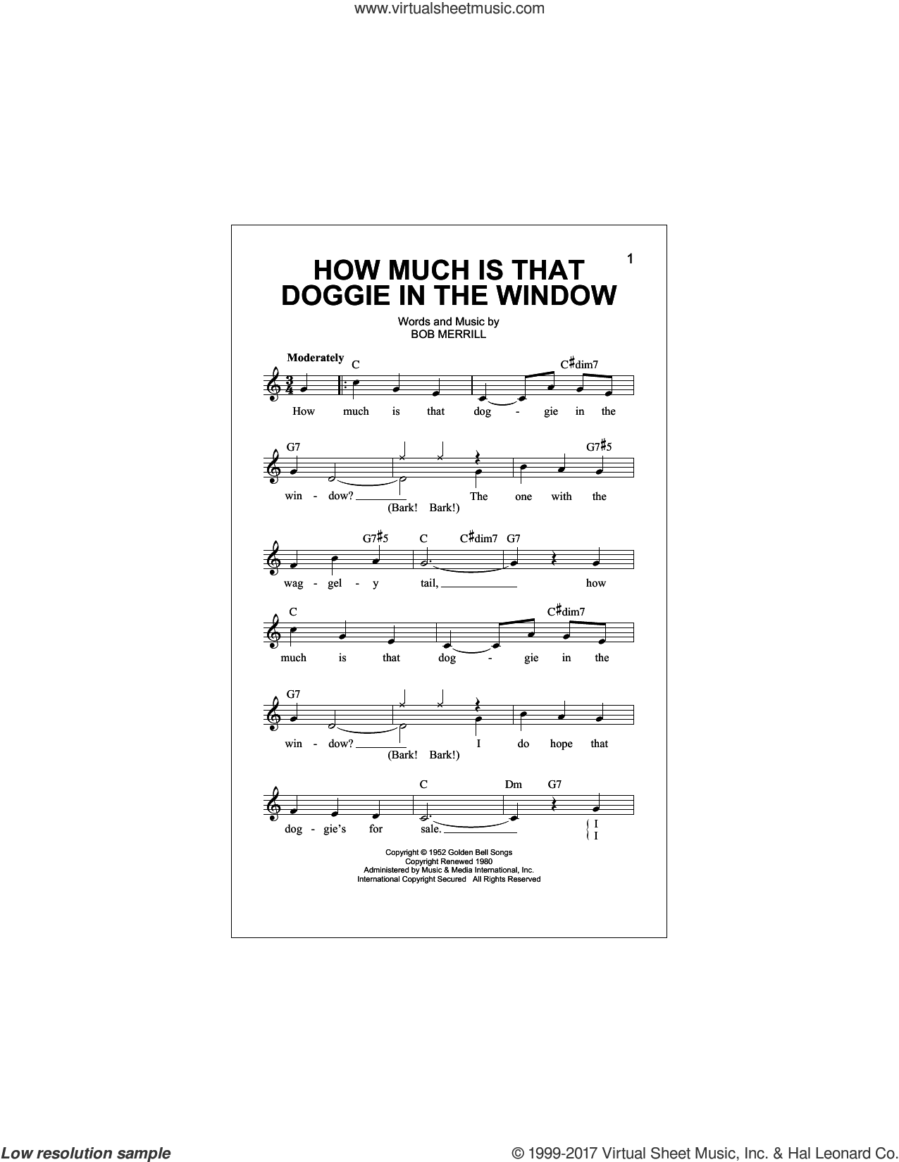 How Much Is That Doggie In The Window sheet music for voice and other instruments (fake book) by Bob Merrill, intermediate skill level
