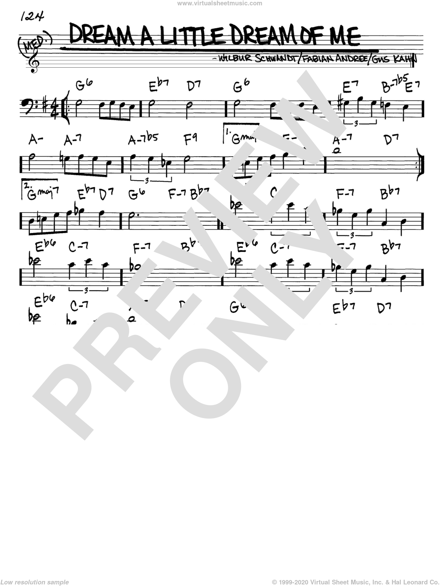 Dream A Little Dream Of Me sheet music for voice and other instruments (Bass Clef ) by Wilbur Schwandt, Louis Armstrong, The Mamas & The Papas and Gus Kahn. Score Image Preview.