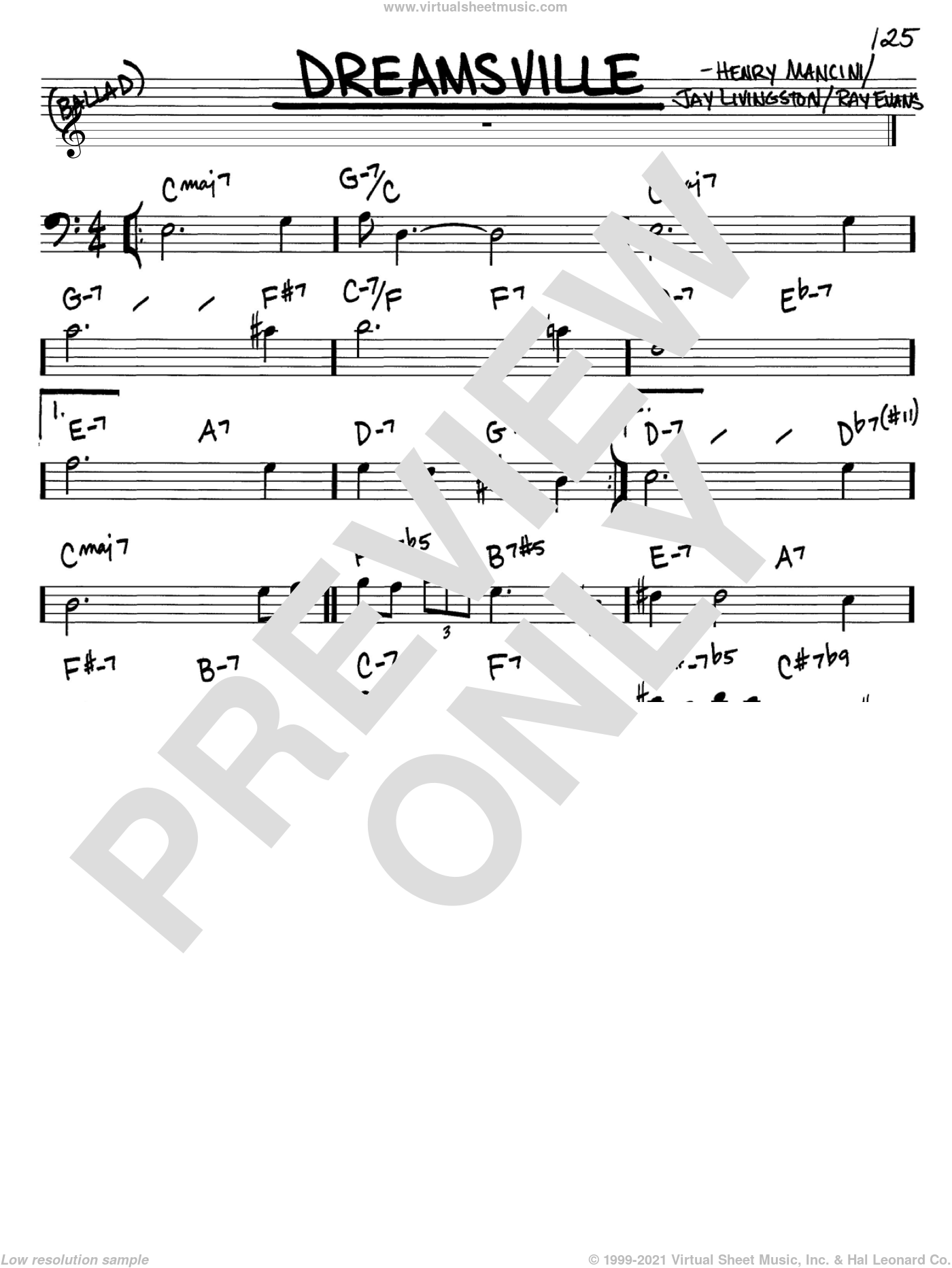 Dreamsville sheet music for voice and other instruments (Bass Clef ) by Ray Evans, Henry Mancini and Jay Livingston. Score Image Preview.