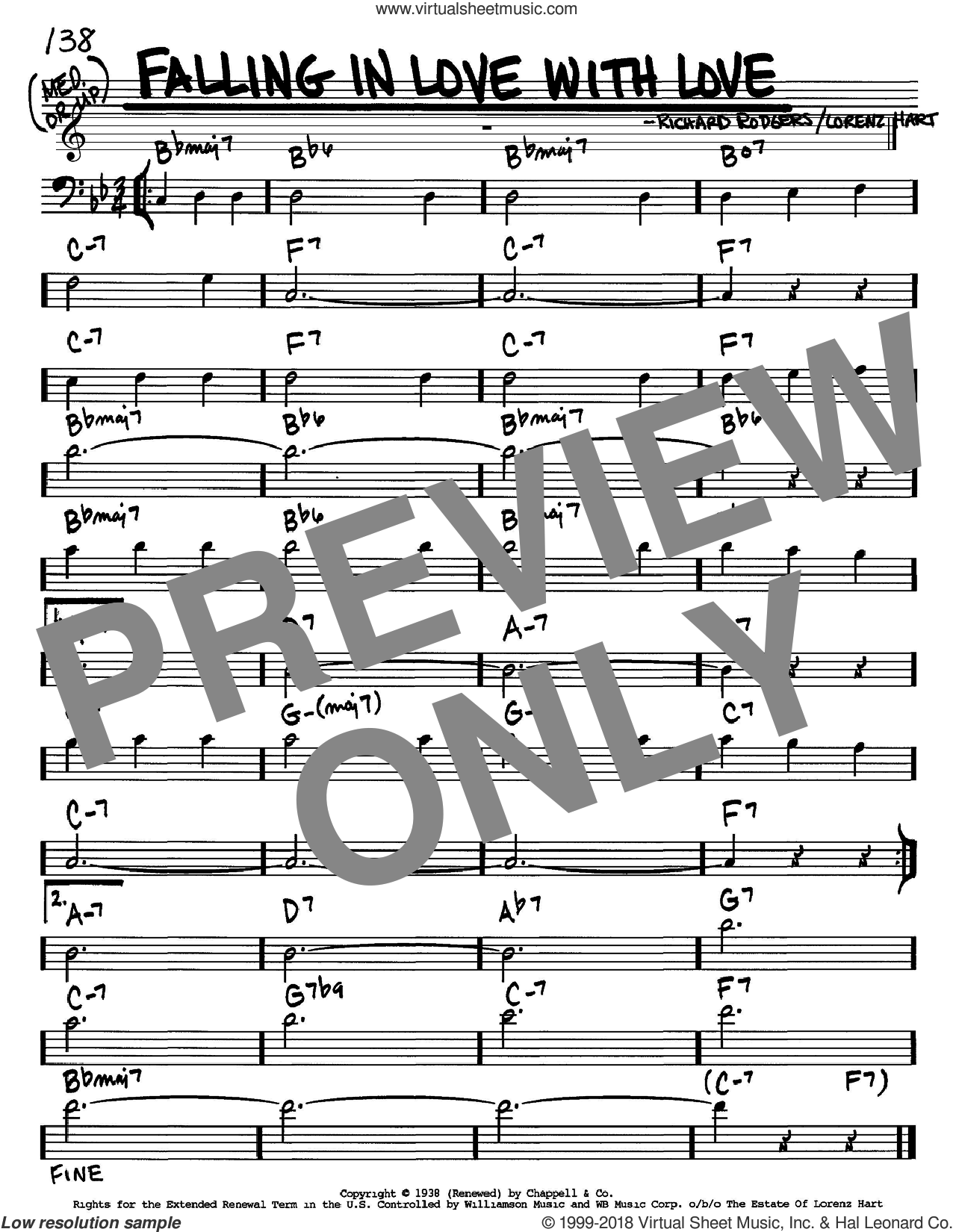 Falling In Love With Love sheet music for voice and other instruments (Bass Clef ) by Richard Rodgers