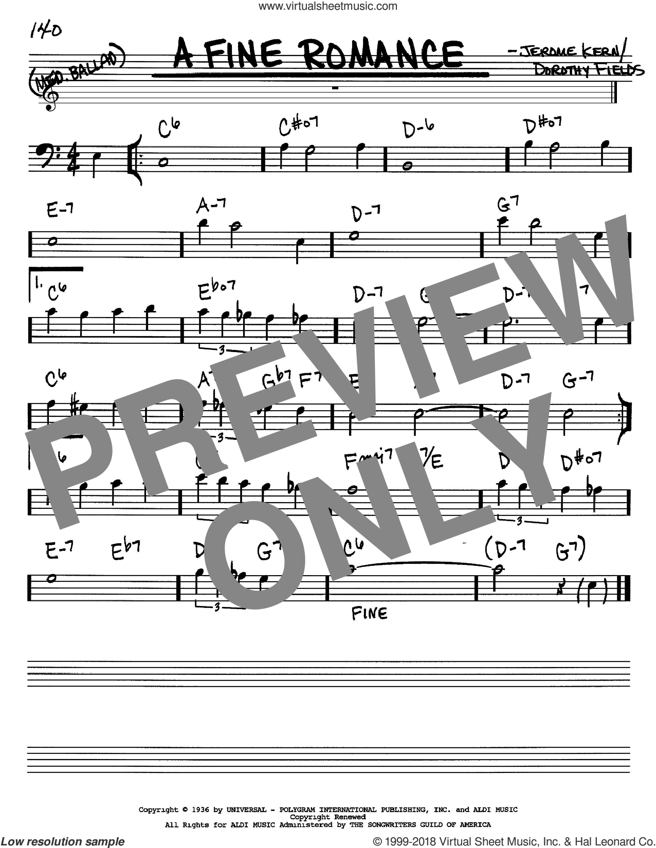 A Fine Romance sheet music for voice and other instruments (Bass Clef ) by Jerome Kern and Dorothy Fields, intermediate voice. Score Image Preview.