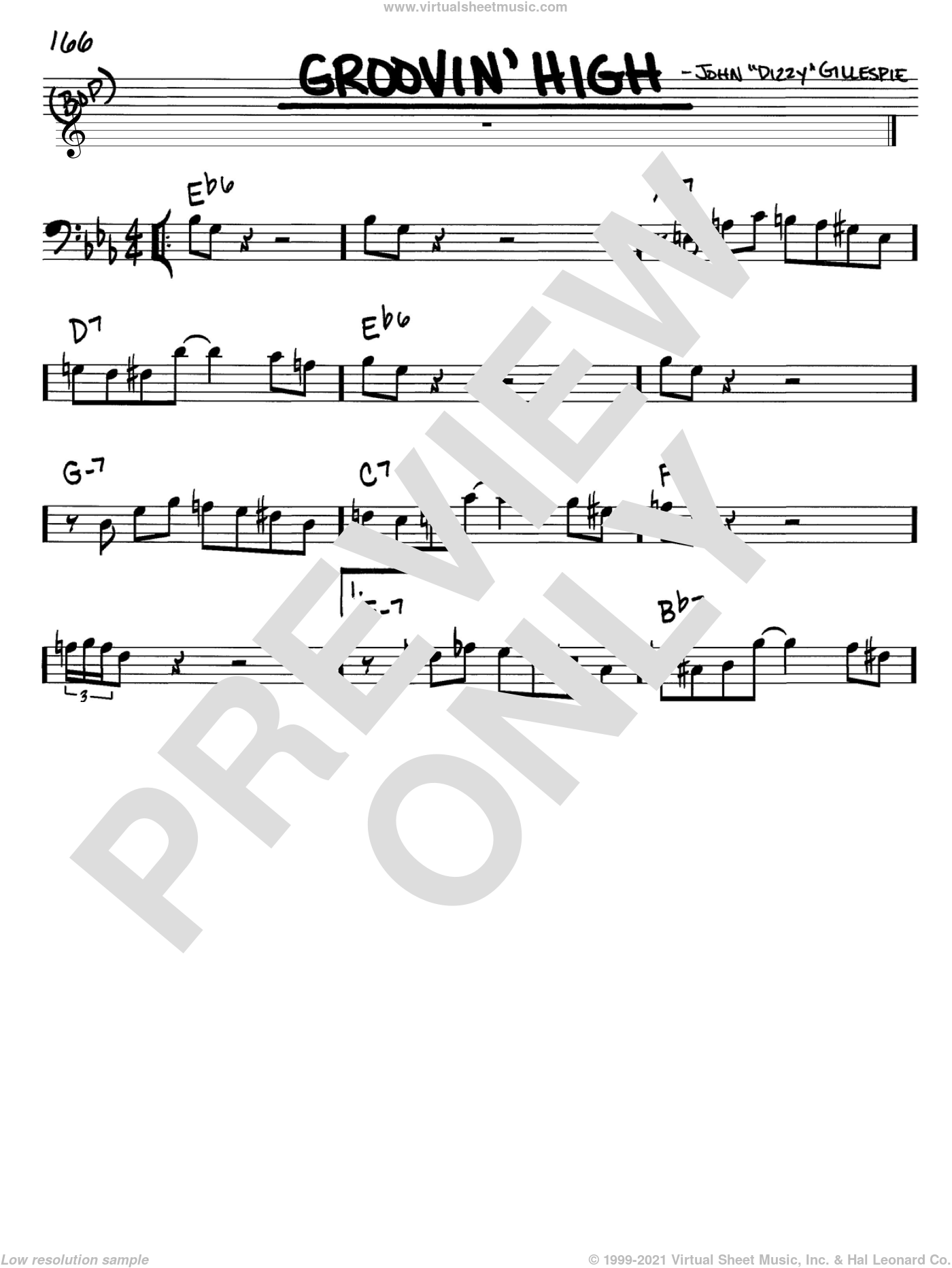 Groovin' High sheet music for voice and other instruments (bass clef) by Dizzy Gillespie and Charlie Parker, intermediate. Score Image Preview.