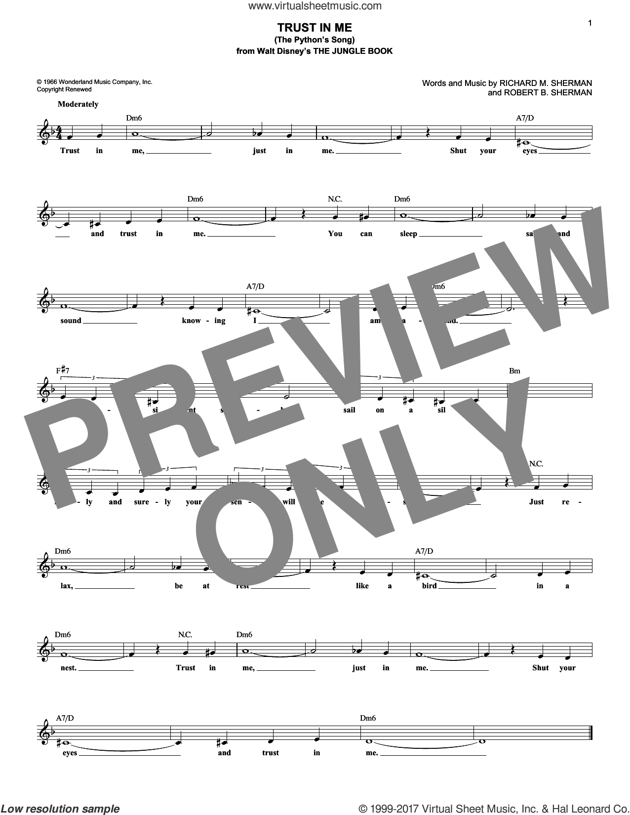 Trust In Me (The Python's Song) sheet music for voice and other instruments (fake book) by Robert B. Sherman and Richard M. Sherman, intermediate skill level