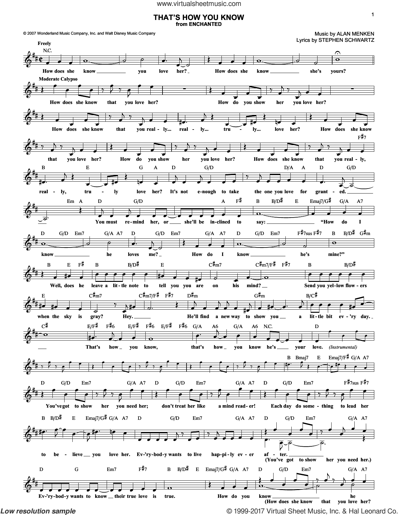 That's How You Know sheet music for voice and other instruments (fake book) by Alan Menken and Stephen Schwartz, intermediate skill level