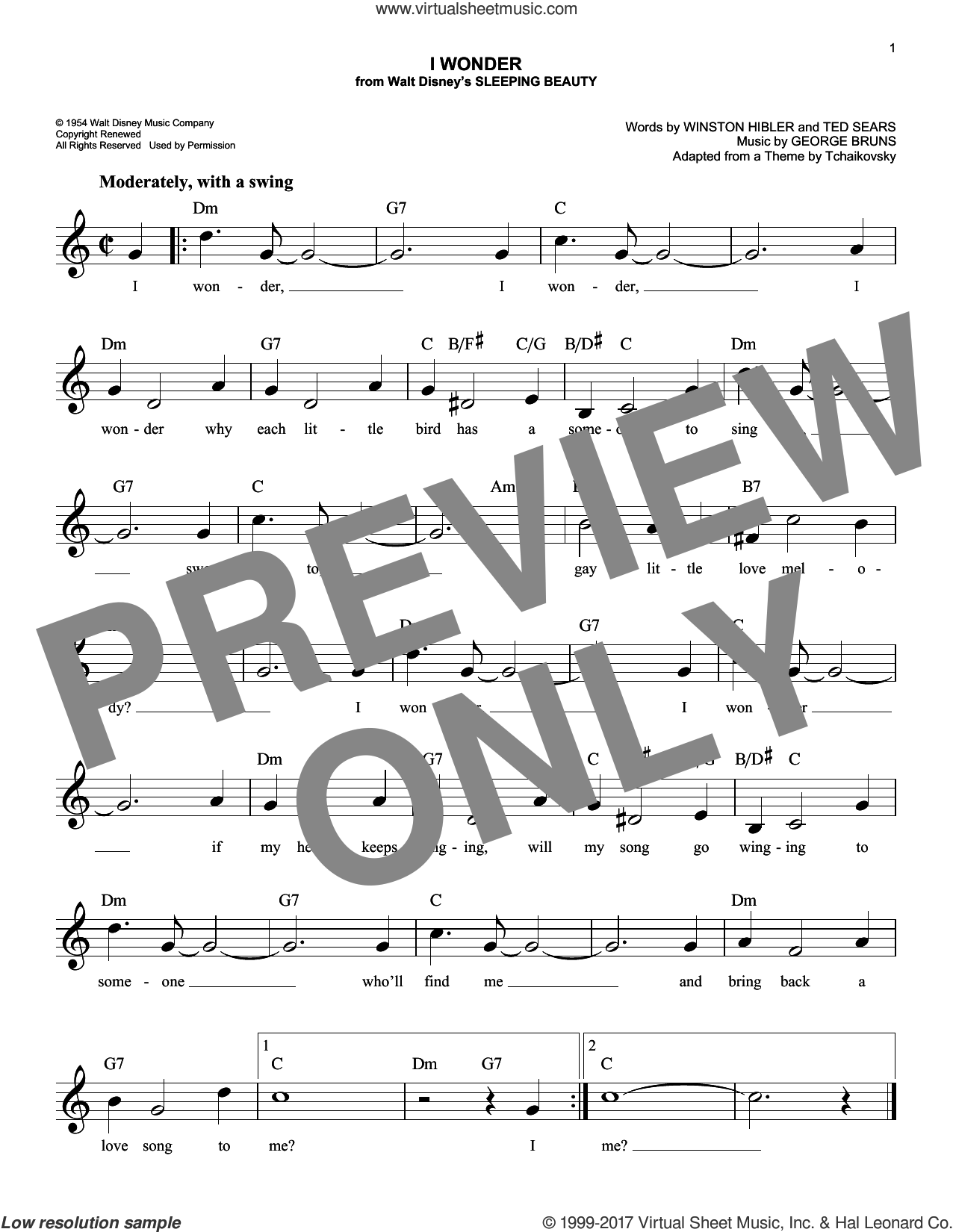 I Wonder sheet music for voice and other instruments (fake book) by George Bruns, Ted Sears and Winston Hibler, intermediate skill level