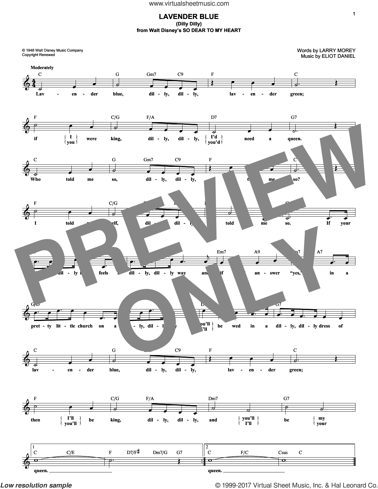 Lavender Blue (Dilly Dilly) sheet music for voice and other instruments (fake book) by Sammy Turner, Eliot Daniel and Larry Morey, intermediate skill level