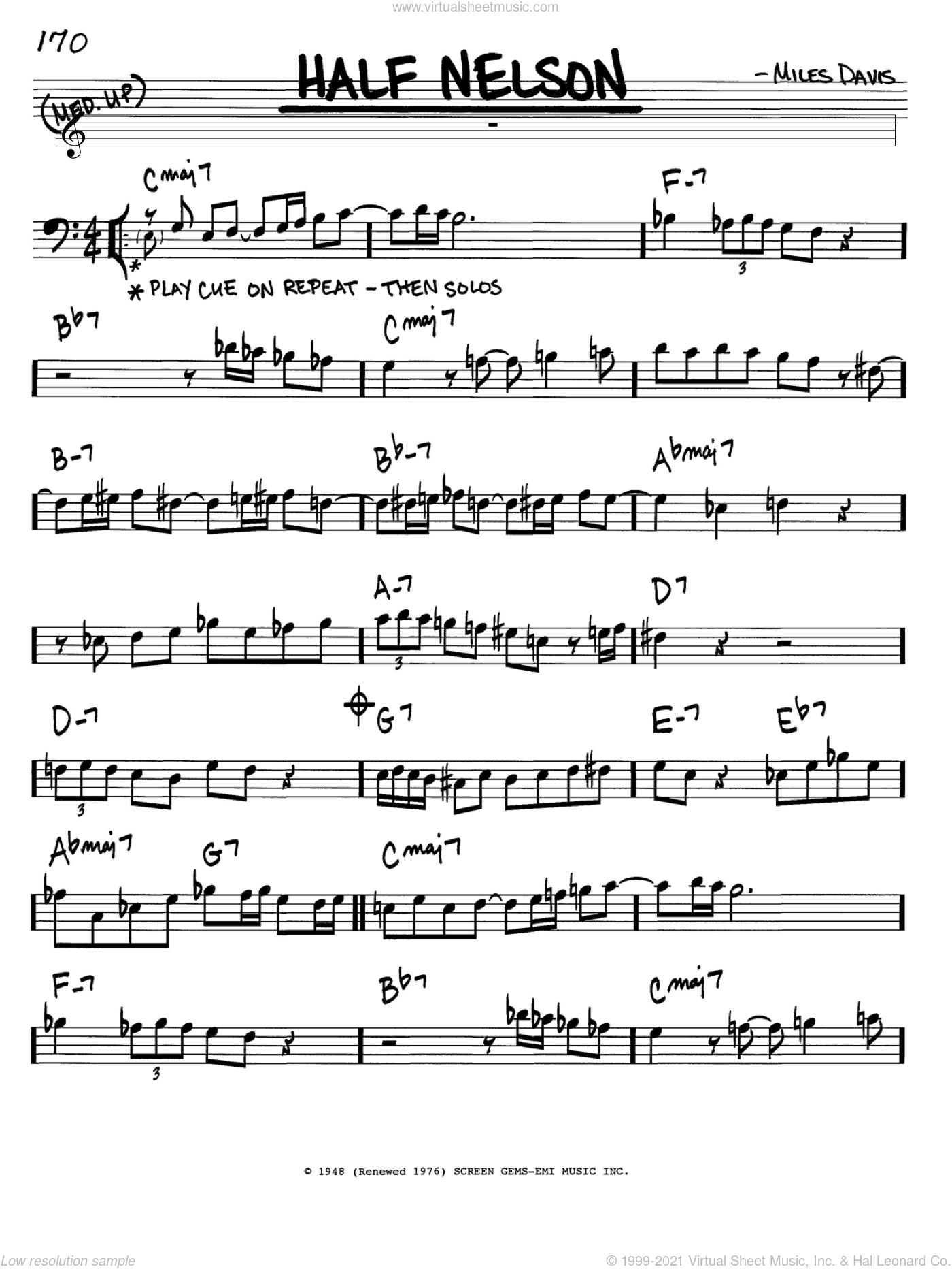 Half Nelson sheet music for voice and other instruments (Bass Clef ) by Miles Davis. Score Image Preview.