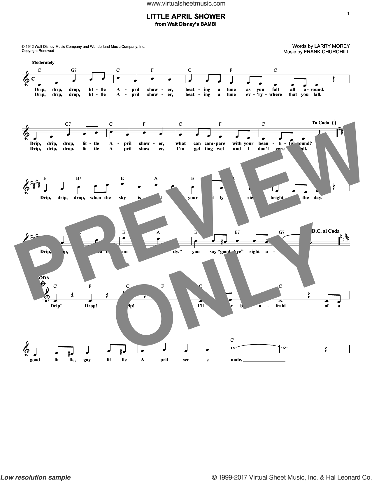 Little April Shower sheet music for voice and other instruments (fake book) by Larry Morey and Frank Churchill, intermediate skill level