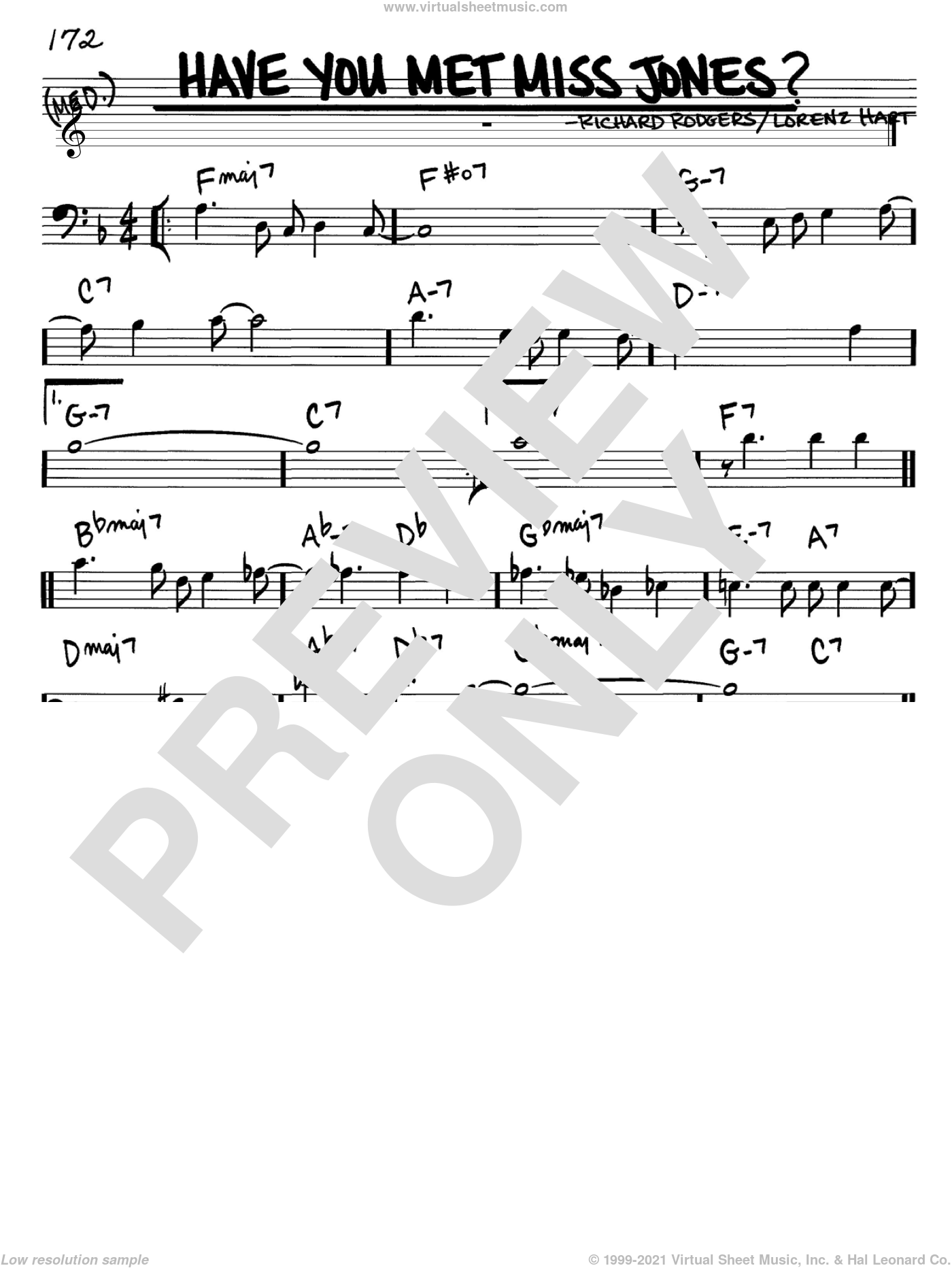 Have You Met Miss Jones? sheet music for voice and other instruments (bass clef) by Rodgers & Hart, Lorenz Hart and Richard Rodgers, intermediate skill level