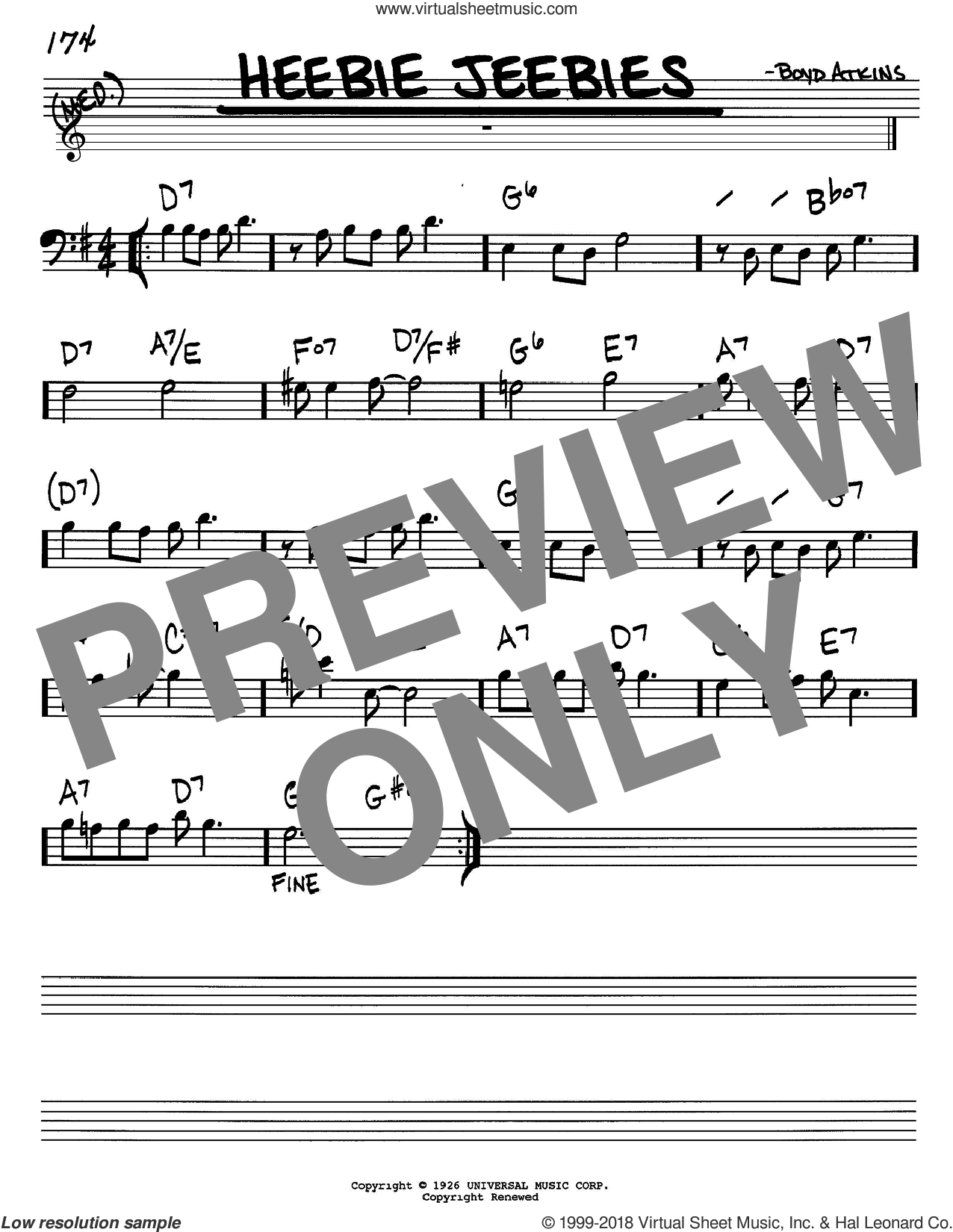 Heebie Jeebies sheet music for voice and other instruments (Bass Clef ) by Boyd Atkins and Louis Armstrong. Score Image Preview.