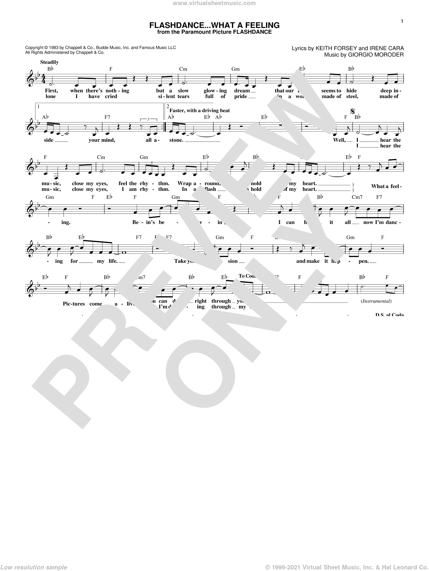 Flashdance...What A Feeling sheet music for voice and other instruments (fake book) by Irene Cara, Giorgio Moroder and Keith Forsey, intermediate skill level