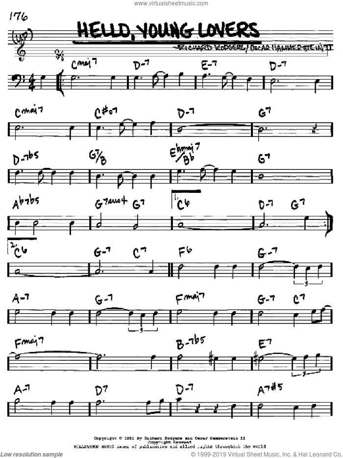 Hello, Young Lovers sheet music for voice and other instruments (Bass Clef ) by Richard Rodgers, Rodgers & Hammerstein and Oscar II Hammerstein. Score Image Preview.