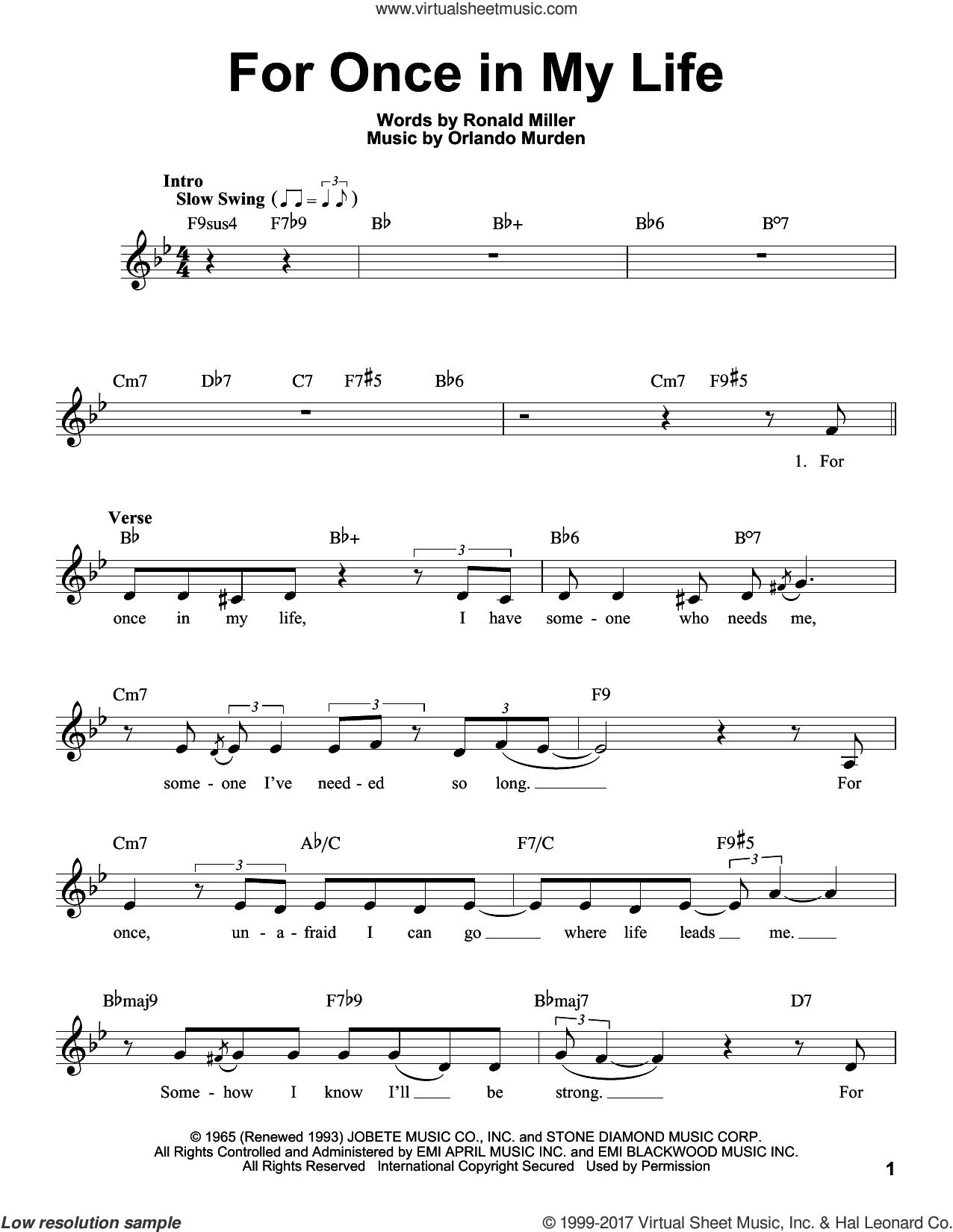 For Once In My Life sheet music for voice solo by Stevie Wonder, Orlando Murden and Ron Miller, intermediate skill level