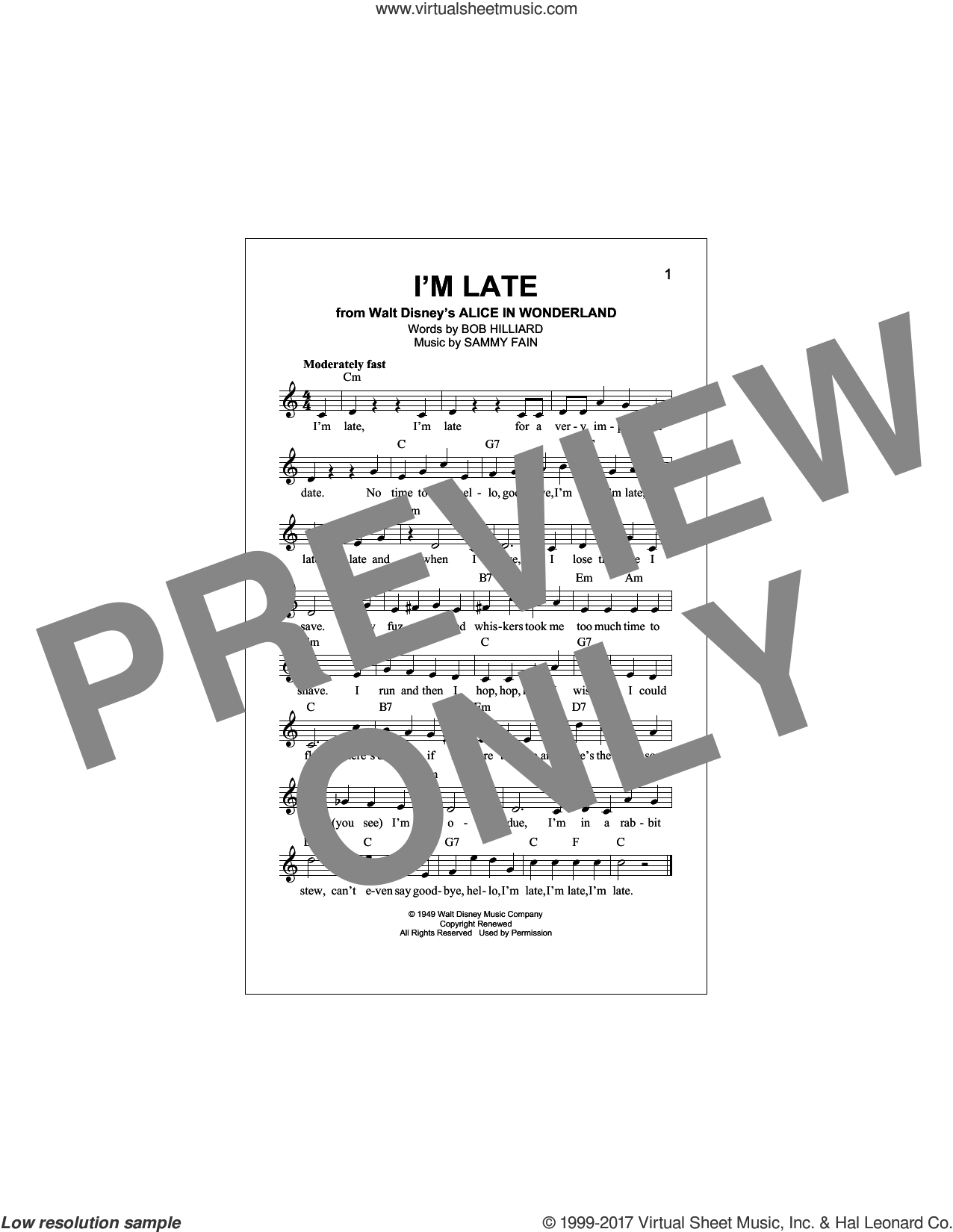 I'm Late sheet music for voice and other instruments (fake book) by Sammy Fain and Bob Hilliard, intermediate skill level