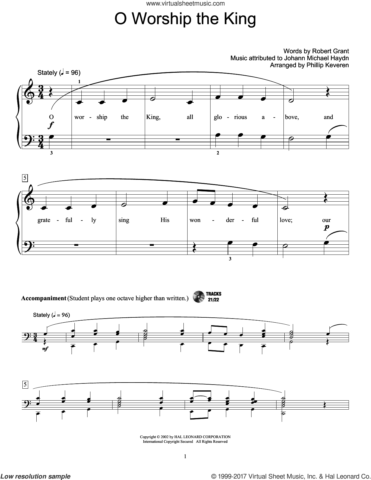 O Worship The King sheet music for piano solo (elementary) by Johann Michael Haydn, Robert Grant and William Gardiner, beginner piano (elementary)