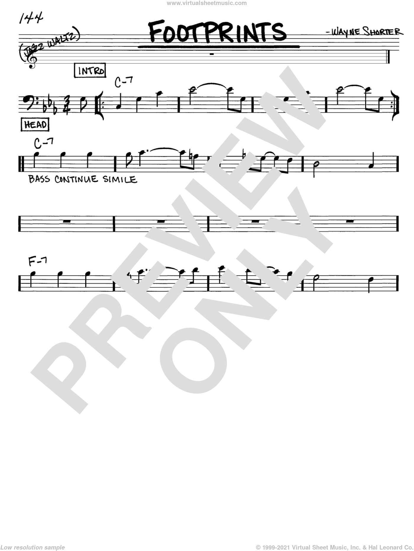 Footprints sheet music for voice and other instruments (Bass Clef ) by Wayne Shorter. Score Image Preview.