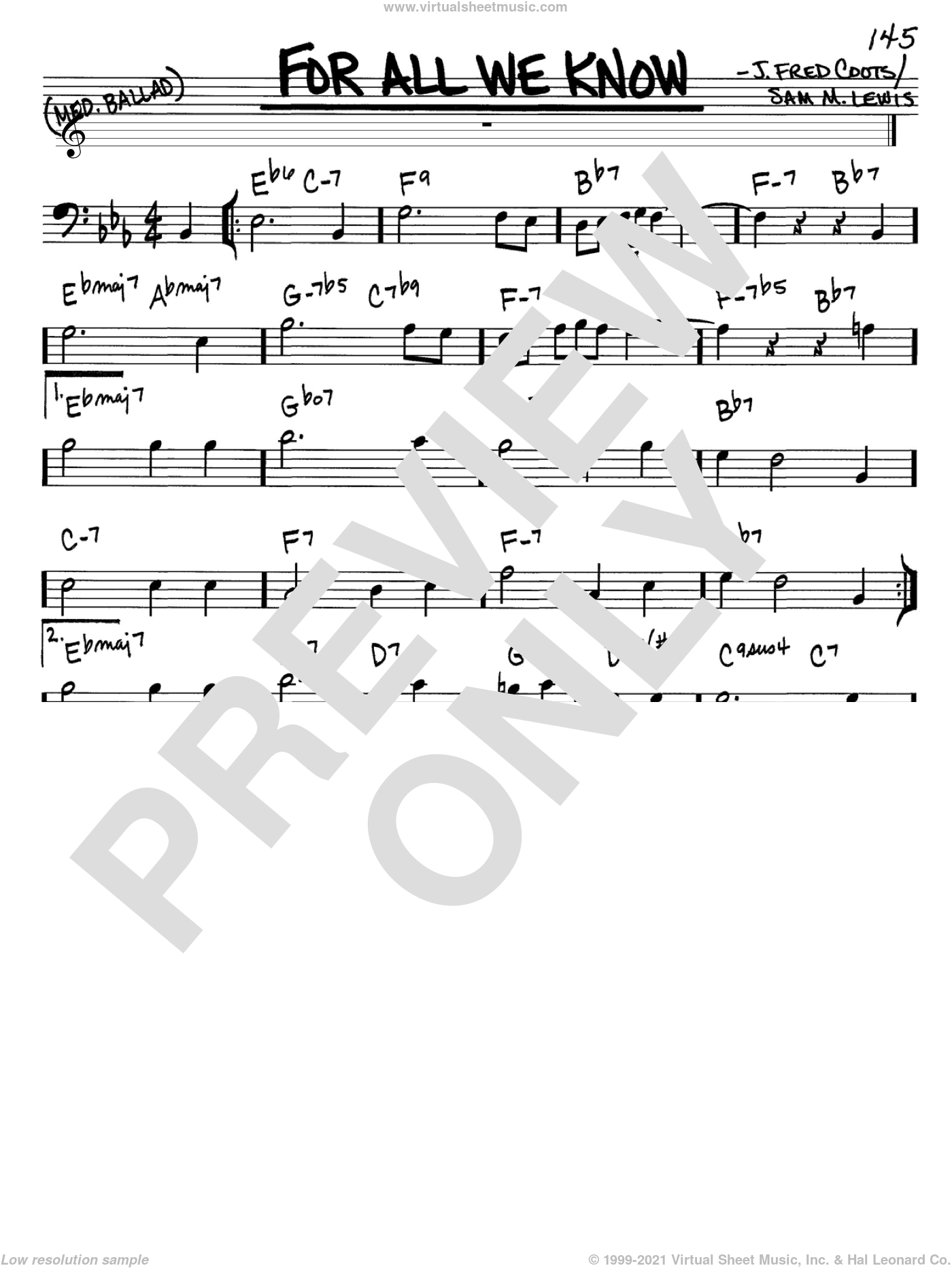 For All We Know sheet music for voice and other instruments (bass clef) by J. Fred Coots and Sam Lewis, intermediate. Score Image Preview.