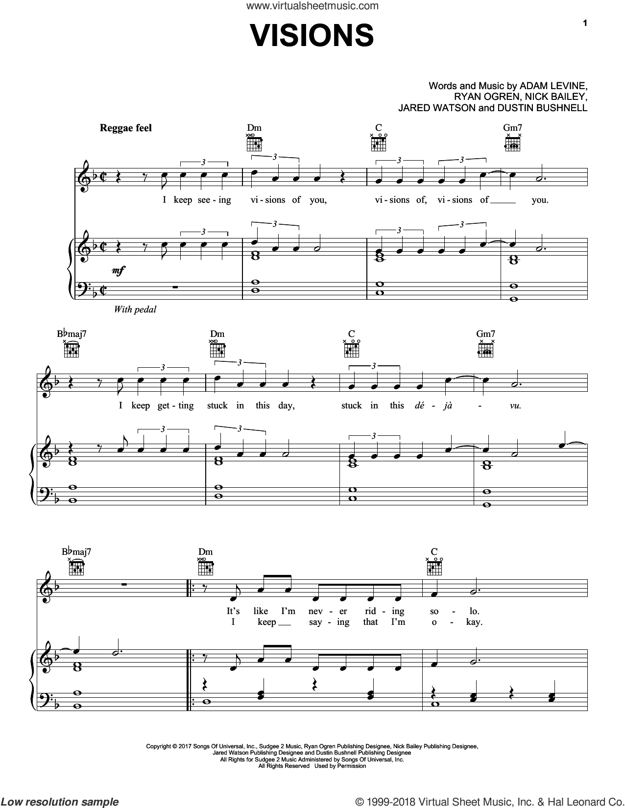 Visions sheet music for voice, piano or guitar by Maroon 5, Adam Levine, Dustin Bushnell, Jared Watson, Nick Bailey and Ryan Ogren, intermediate skill level