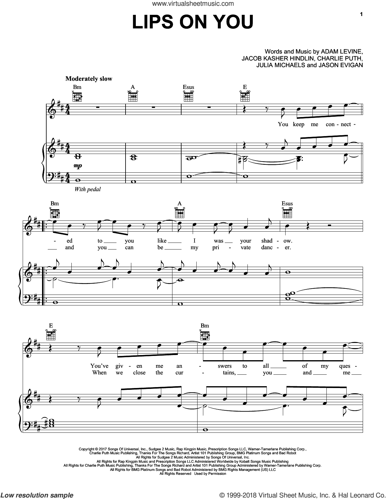 Lips On You sheet music for voice, piano or guitar by Maroon 5, Adam Levine, Charlie Puth, Jacob Kasher Hindlin, Jason Evigan and Julia Michaels, intermediate skill level