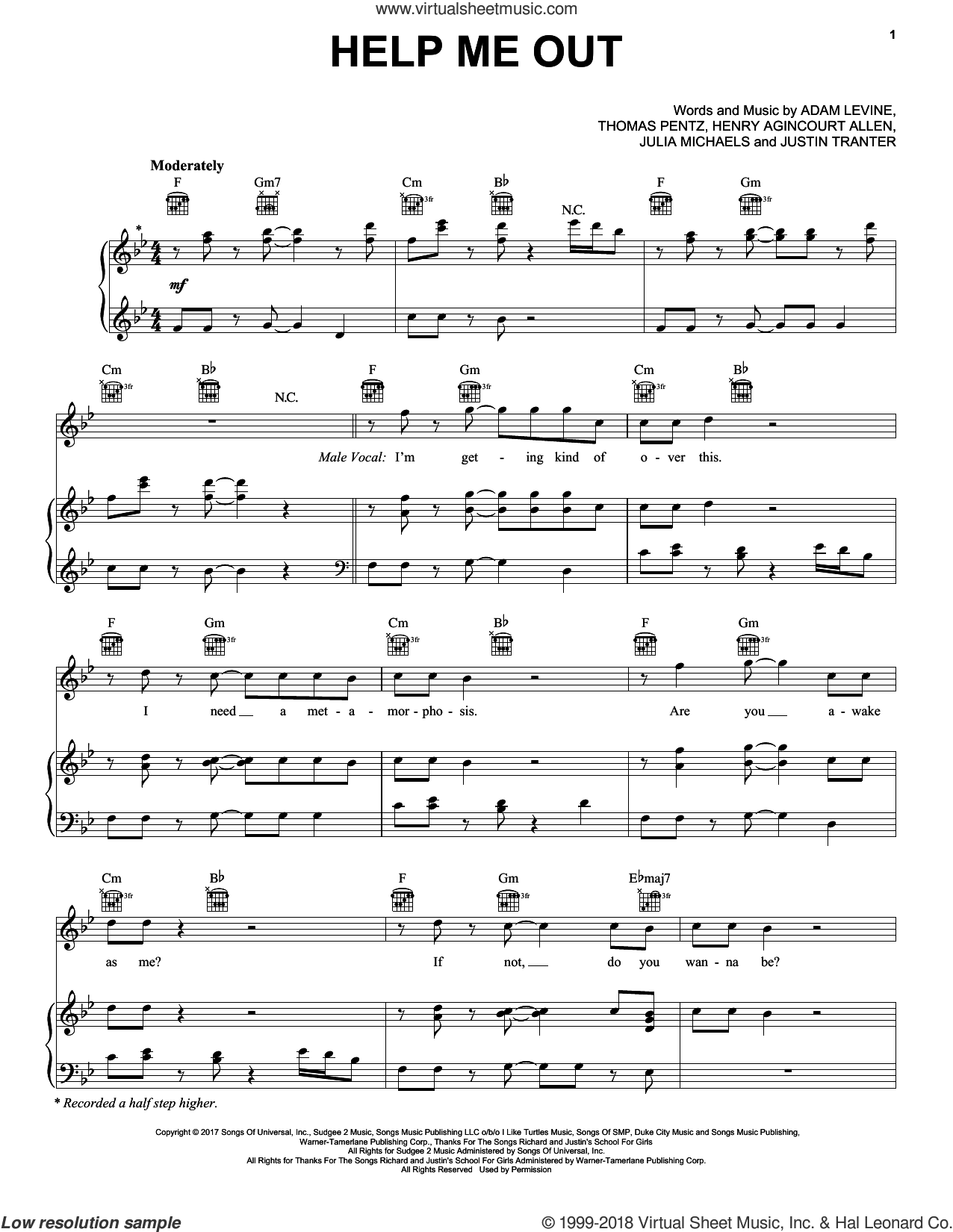 Help Me Out sheet music for voice, piano or guitar by Maroon 5 with Julia Michaels, Adam Levine, Diplo, Henry Agincourt, Julia Michaels, Justin Tranter, King Henry and Thomas Wesley, intermediate skill level