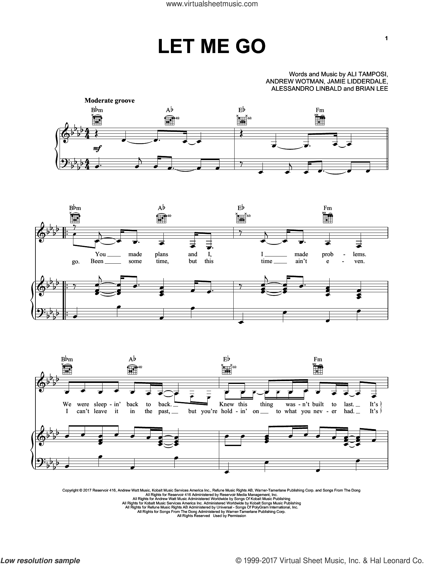 Let Me Go sheet music for voice, piano or guitar by Hailee Steinfeld and Alesso feat. Florida Georgia Line, Alessandro Linbald, Ali Tamposi, Andrew Wotman, Brian Lee and Jamie Lidderdale, intermediate skill level