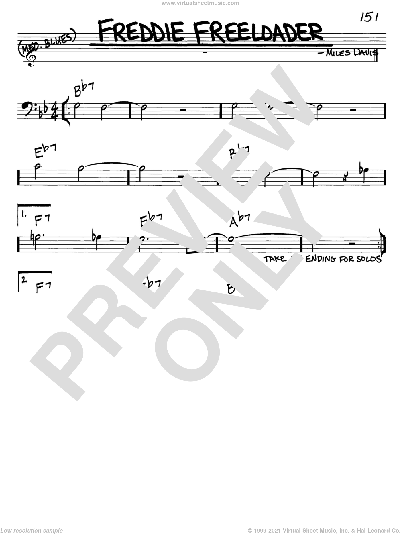 Freddie Freeloader sheet music for voice and other instruments (bass clef) by Miles Davis, intermediate skill level