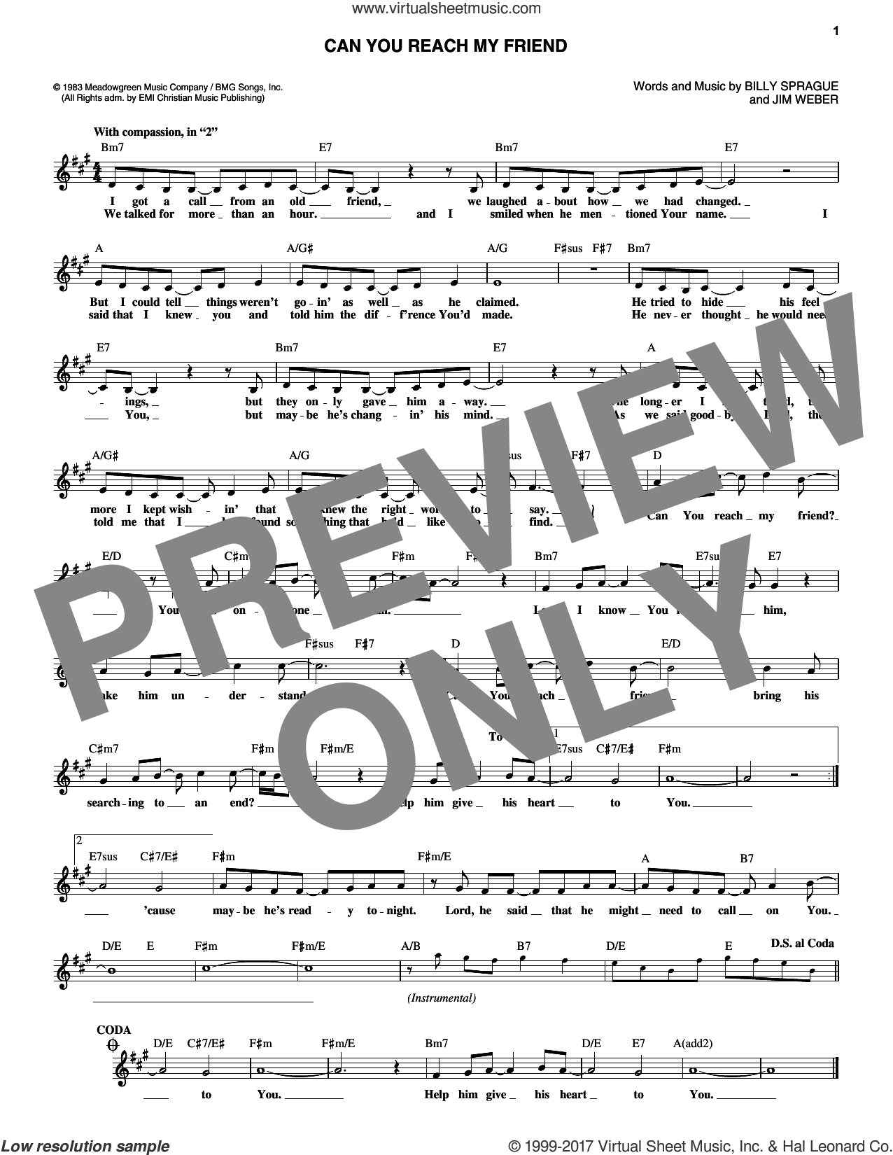 Can You Reach My Friend sheet music for voice and other instruments (fake book) by Helen Baylor, Billy Sprague and Jim Weber, intermediate skill level