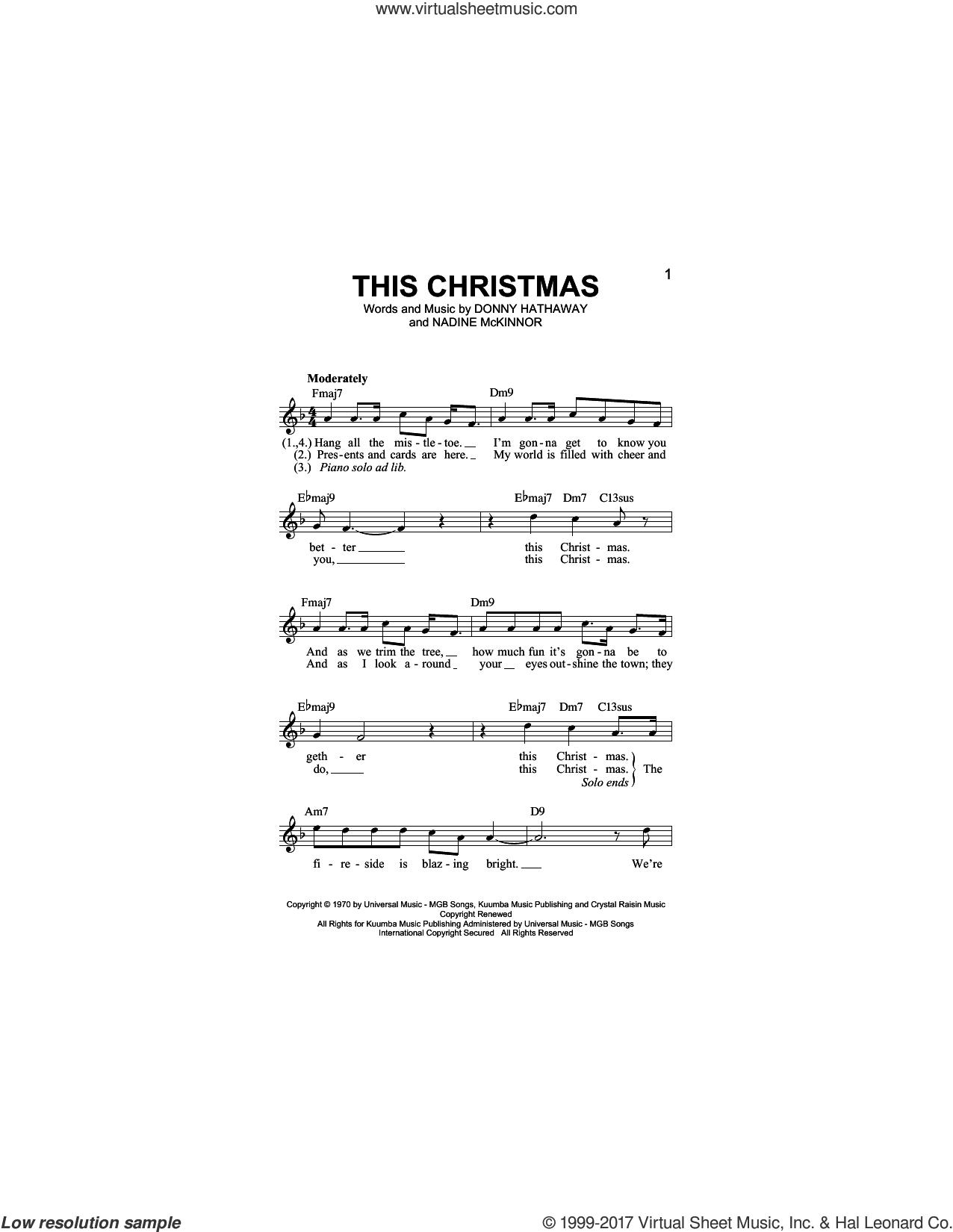 Donny Hathaway This Christmas.Hathaway This Christmas Sheet Music Fake Book Pdf