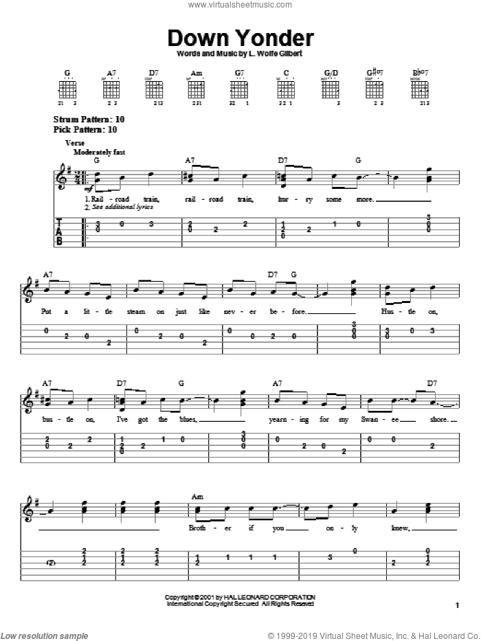 Down Yonder sheet music for guitar solo (chords) by L. Wolfe Gilbert. Score Image Preview.