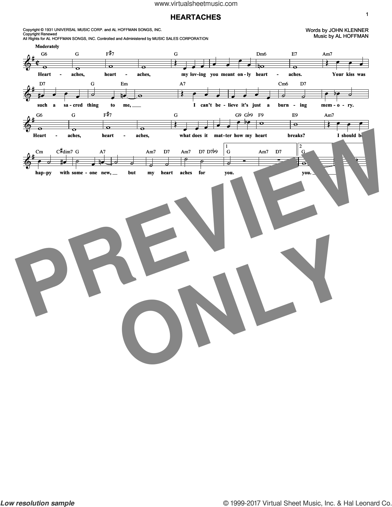 Heartaches sheet music for voice and other instruments (fake book) by Patsy Cline, Al Hoffman and John Klenner, intermediate. Score Image Preview.