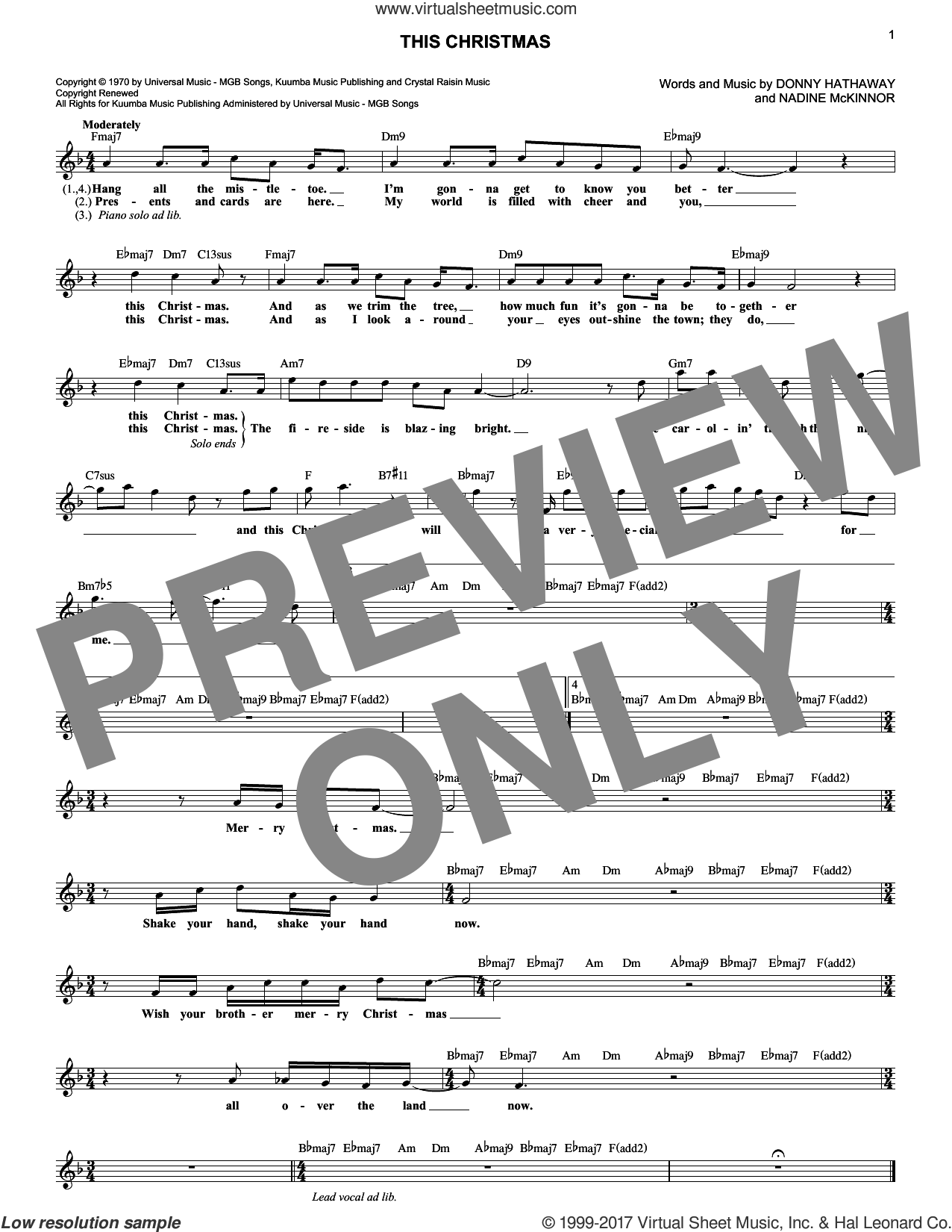 This Christmas sheet music for voice and other instruments (fake book) by Donny Hathaway and Nadine McKinnor, intermediate skill level