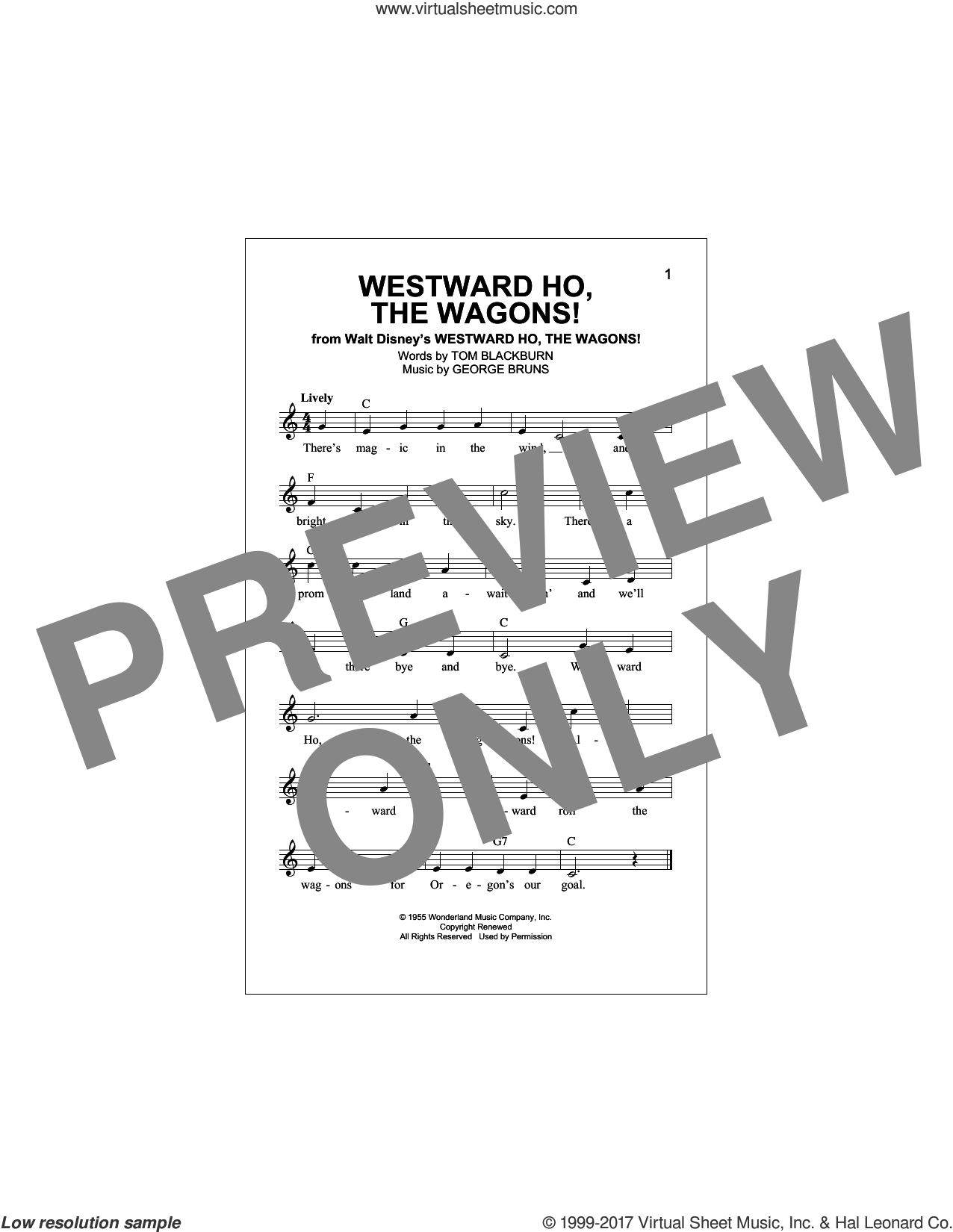 Westward Ho, The Wagons! sheet music for voice and other instruments (fake book) by George Bruns and Tom Blackburn, intermediate skill level