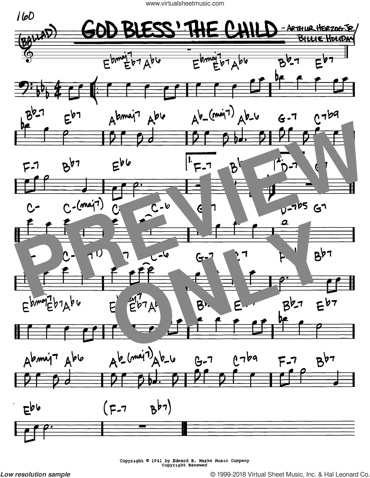 God Bless' The Child sheet music for voice and other instruments (bass clef) by Billie Holiday and Arthur Herzog Jr., intermediate skill level