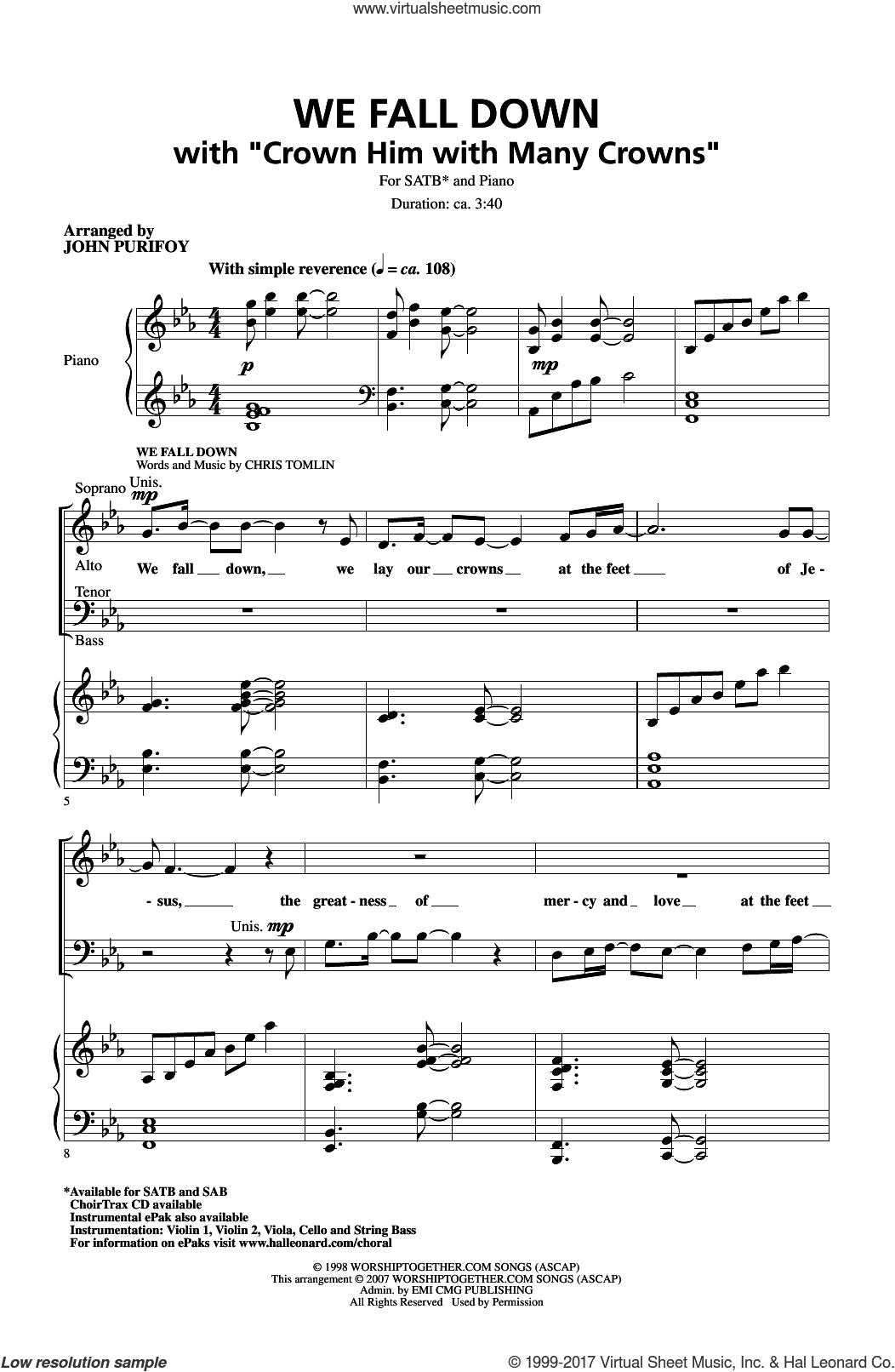 Crown Him With Many Crowns sheet music for choir (SATB: soprano, alto, tenor, bass) by George Job Elvey, John Purifoy, Godfrey Thring and Matthew Bridges, intermediate skill level