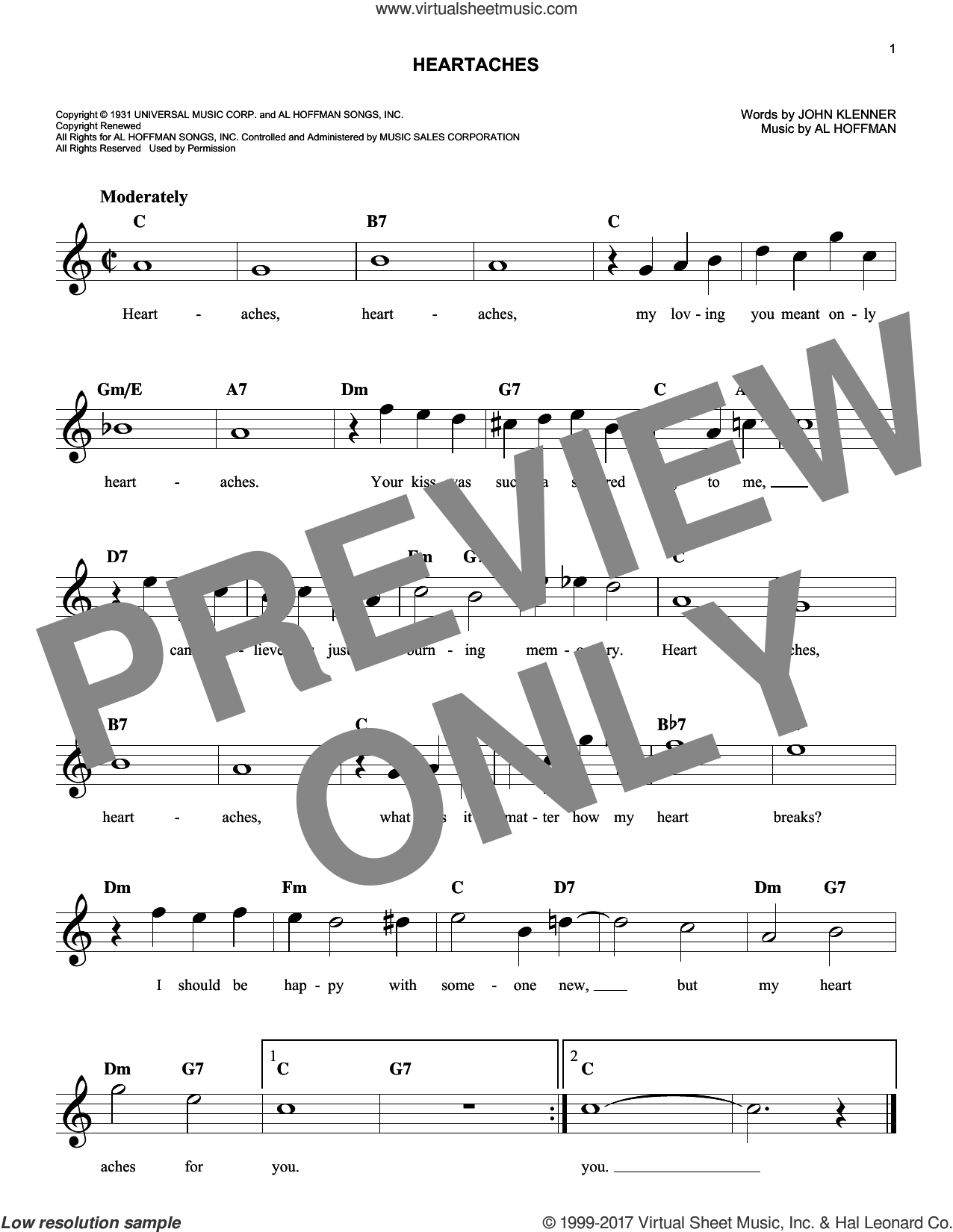 Heartaches sheet music for voice and other instruments (fake book) by Patsy Cline, Al Hoffman and John Klenner, intermediate skill level