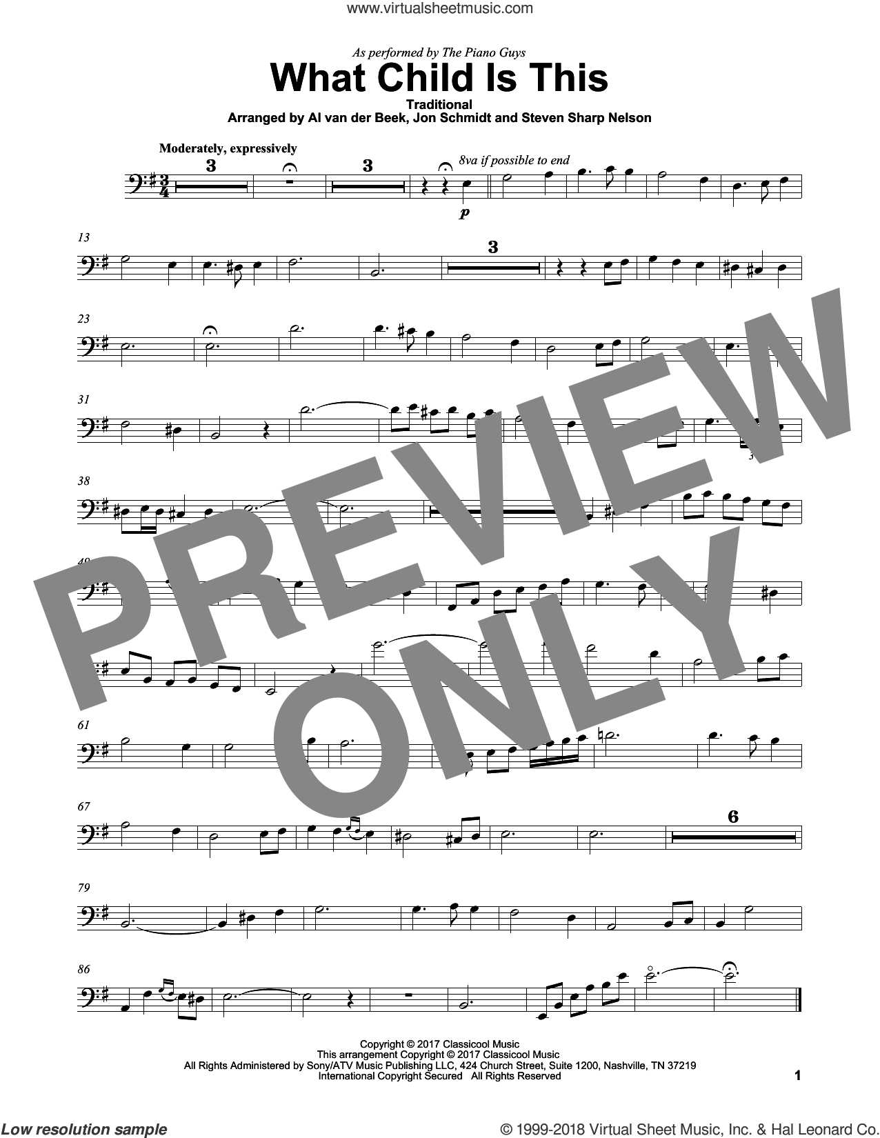 What Child Is This sheet music for cello solo by The Piano Guys, Al van der Beek (arr.), Jon Schmidt (arr.) and Steven Sharp Nelson (arr.), intermediate skill level