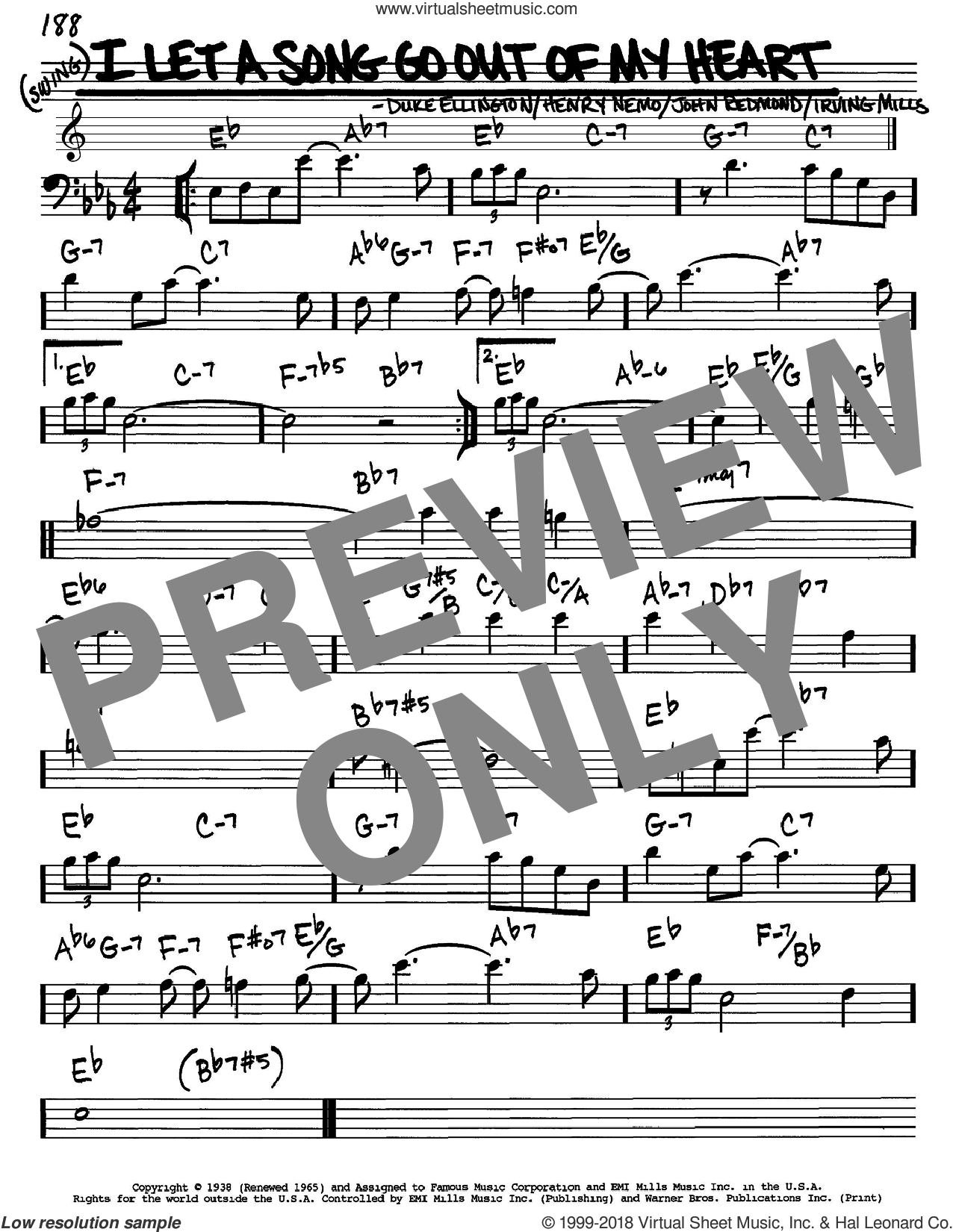 I Let A Song Go Out Of My Heart sheet music for voice and other instruments (Bass Clef ) by John Redmond, Duke Ellington, Henry Nemo and Irving Mills. Score Image Preview.