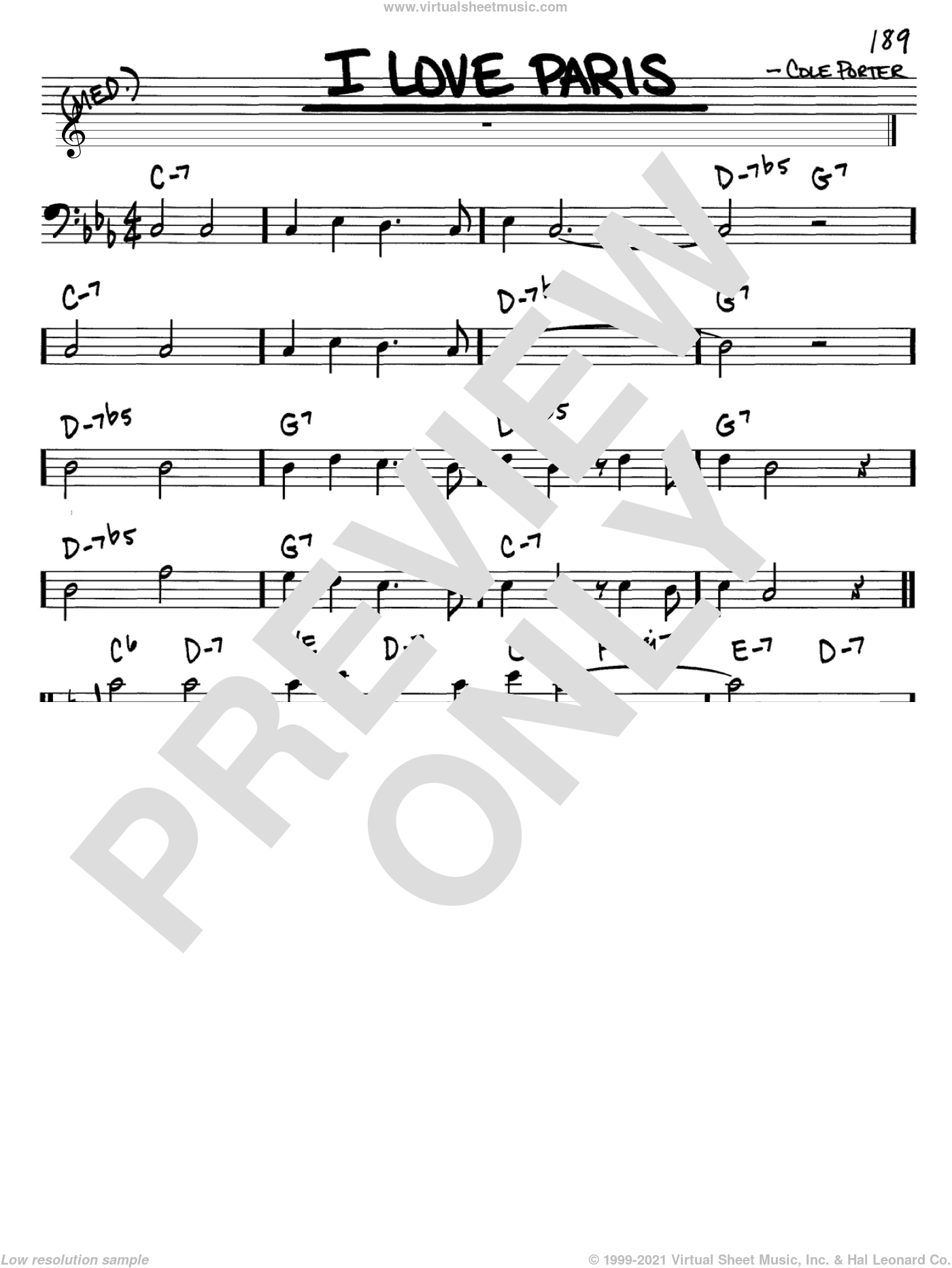 I Love Paris sheet music for voice and other instruments (bass clef) by Cole Porter, intermediate skill level