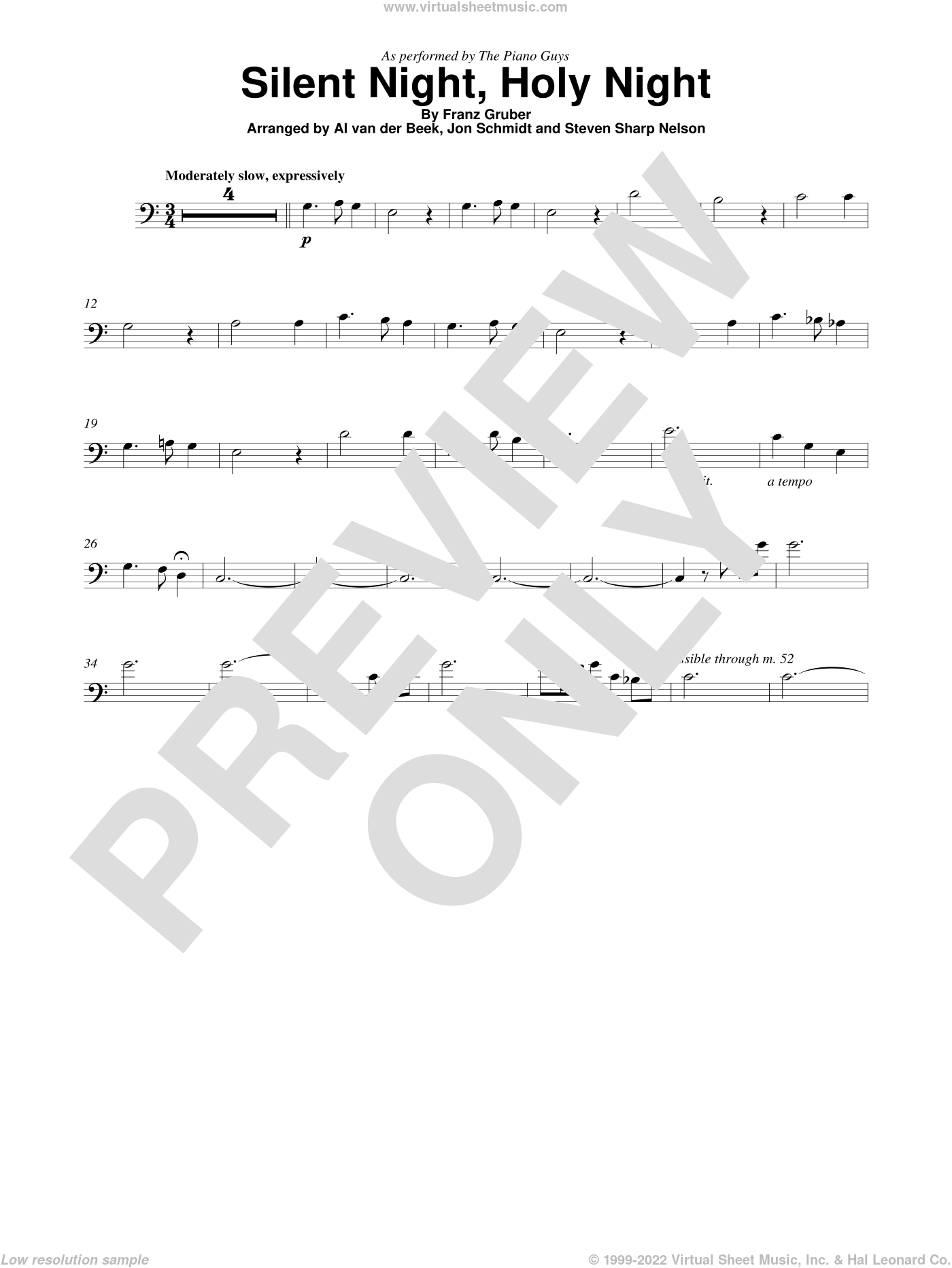 Silent Night, Holy Night sheet music for cello solo by The Piano Guys and Franz Gruber, intermediate