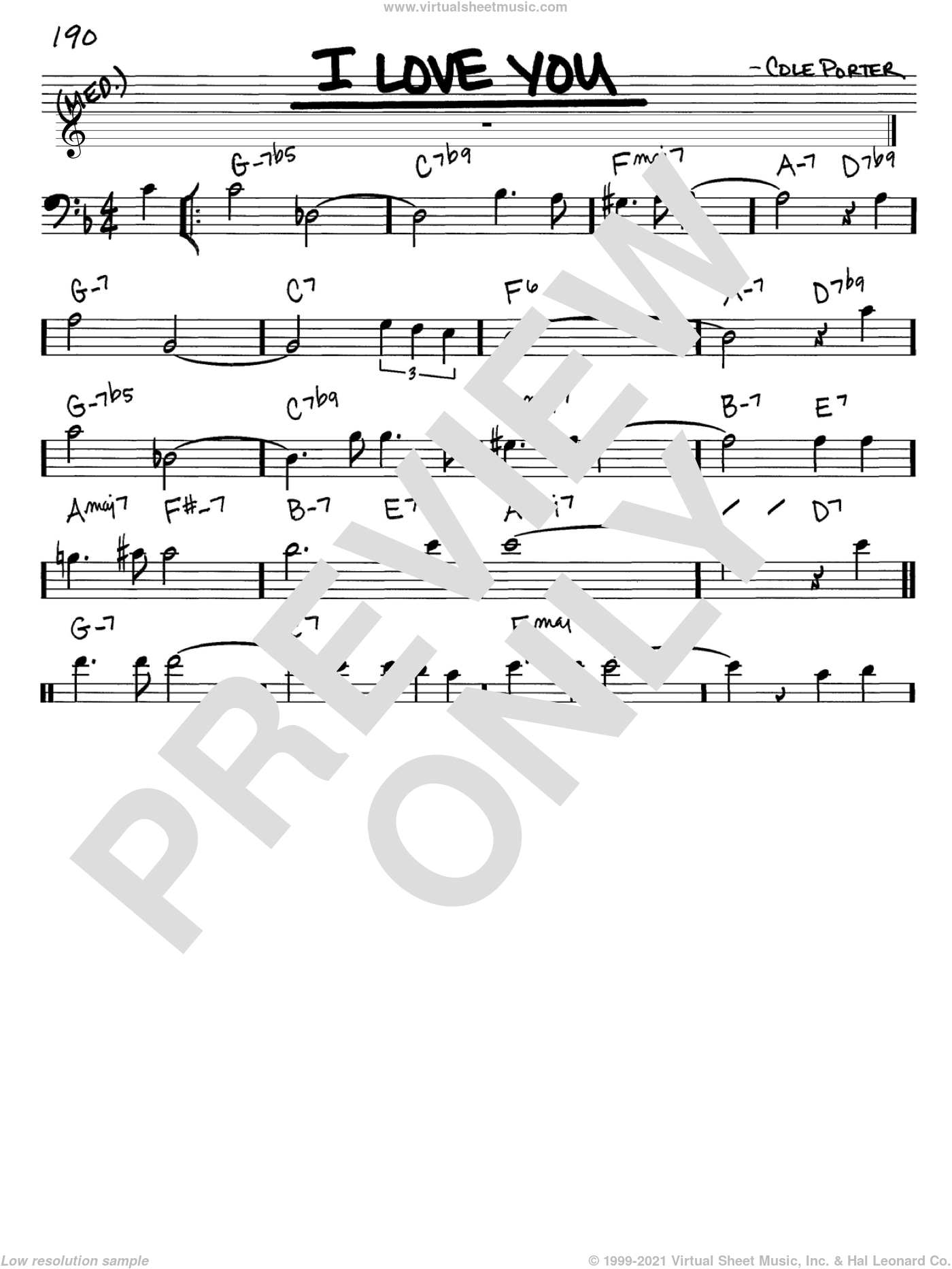 I Love You sheet music for voice and other instruments (Bass Clef ) by Cole Porter. Score Image Preview.