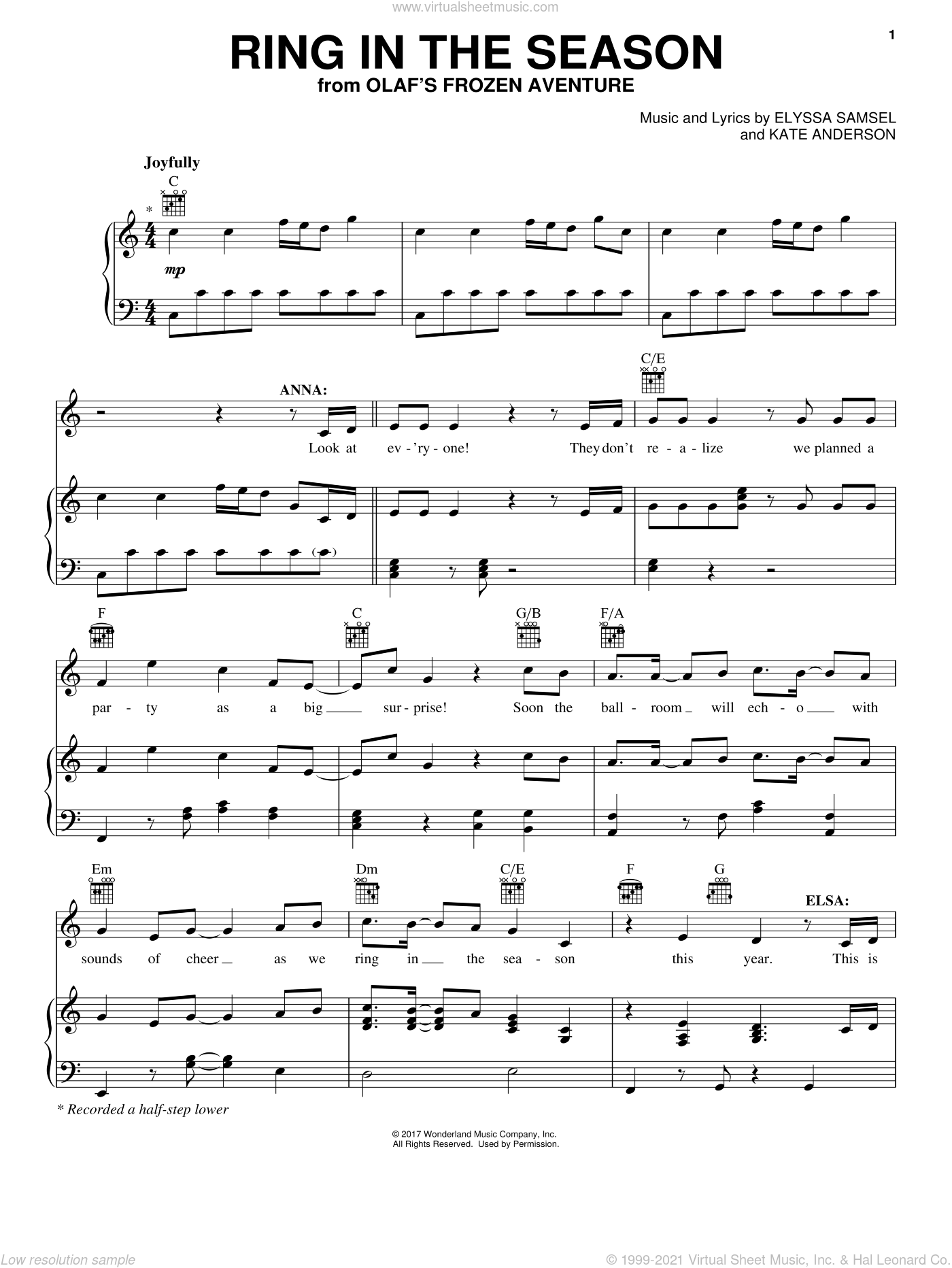 Ring In The Season sheet music for voice, piano or guitar by Elyssa Samsel and Kate Anderson, intermediate skill level